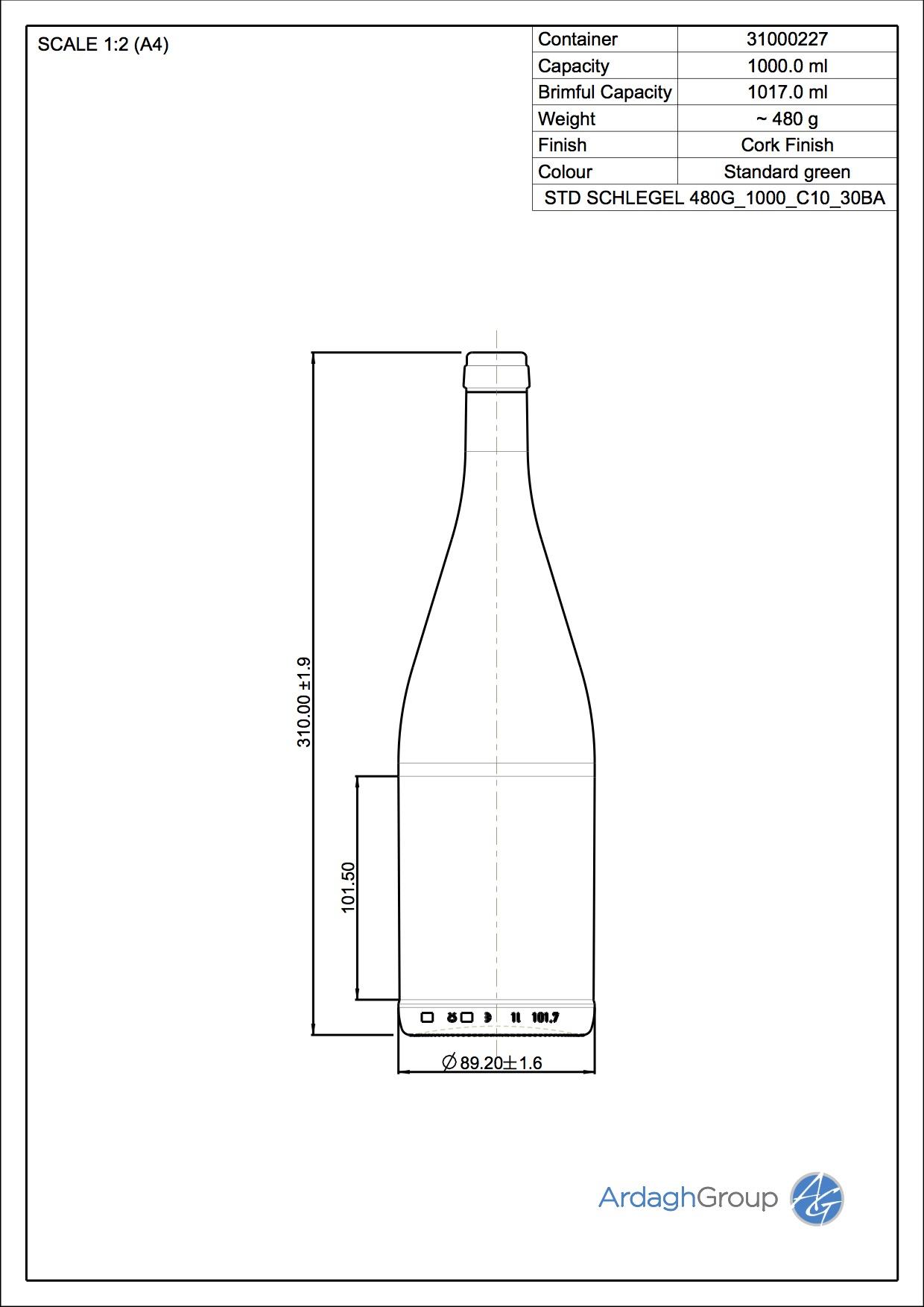 SCHLEGELFLASCHE 1000 C10 30BA