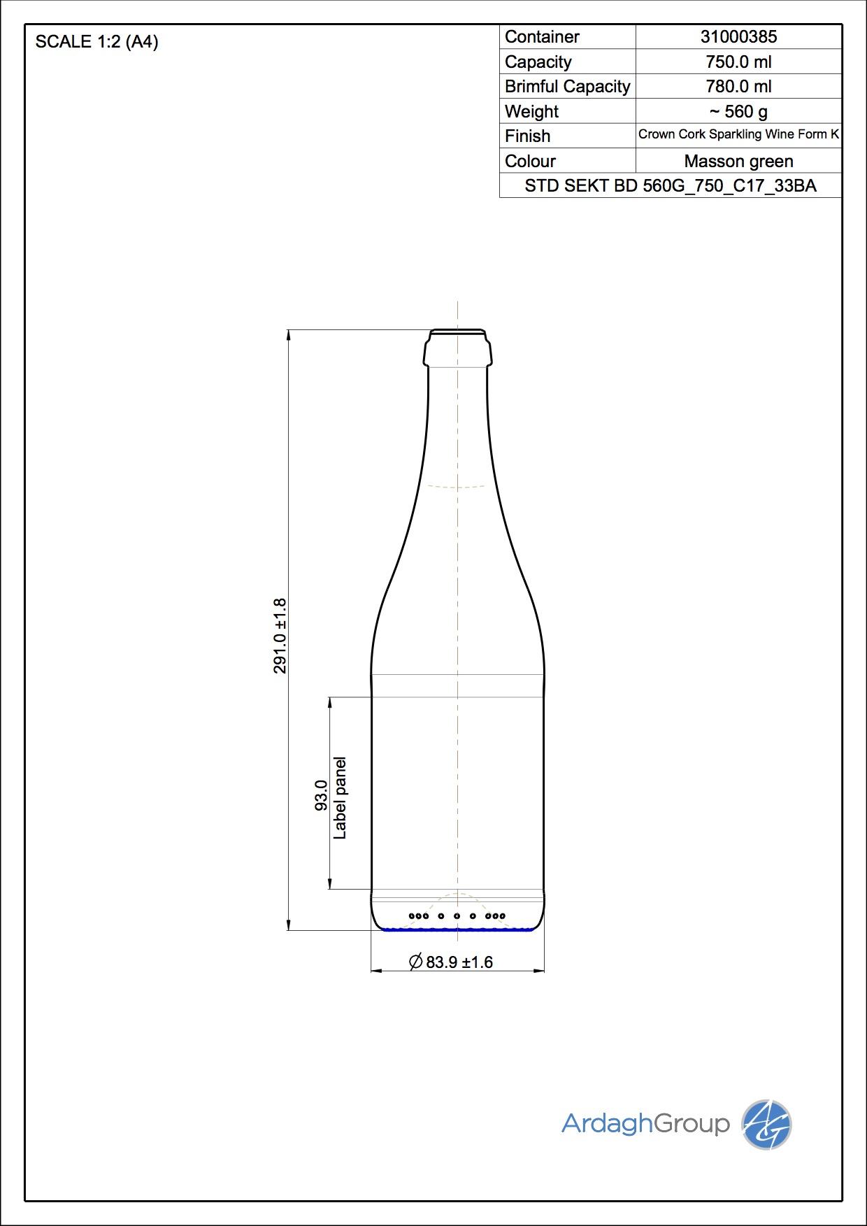 750ml green glass Sekt BD oneway wine bottle