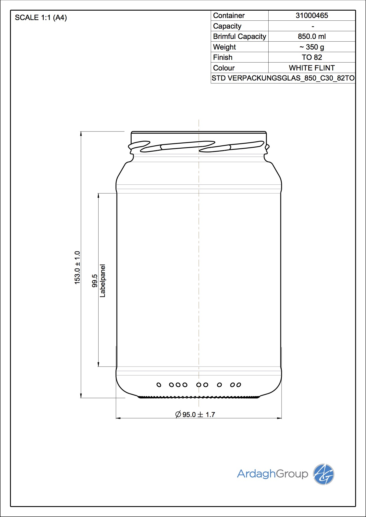 Verpackungsglas850 C30 82TO