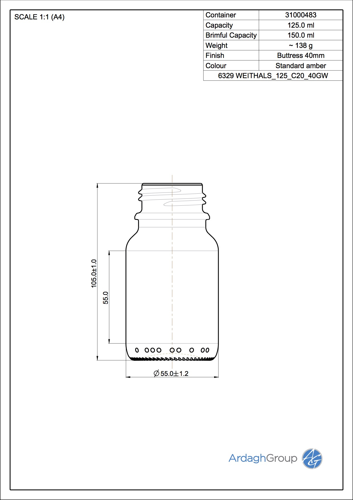 125ml amber glass widemouth bottle