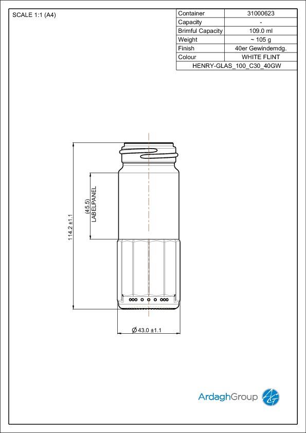 109ml flint glass Henry food jar
