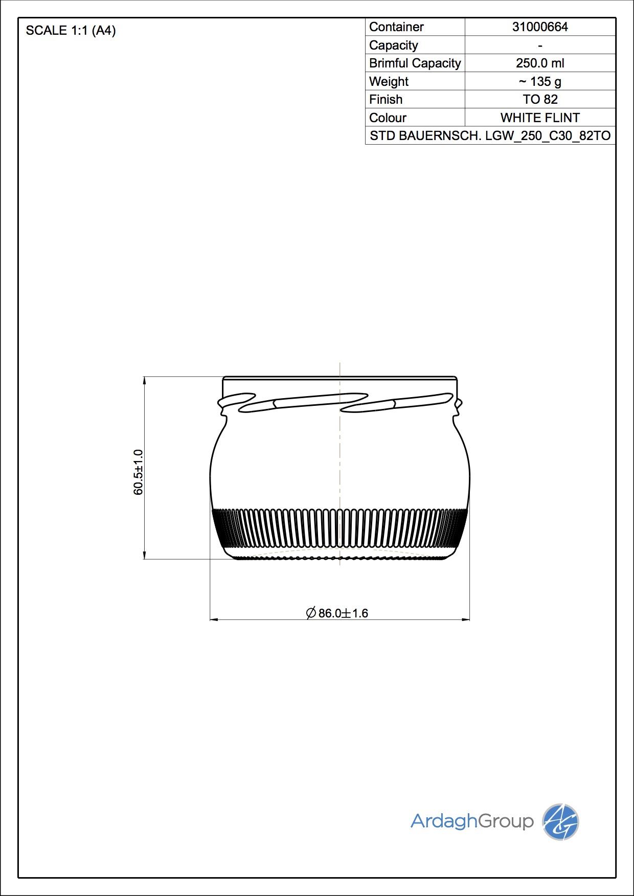 250ml Flint Glass Bauernschale LGW Food Jar 31000664