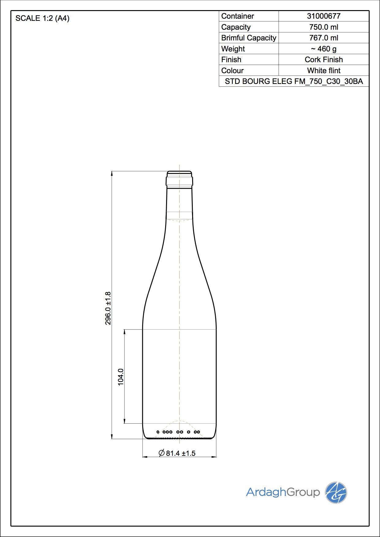 750ml flint glass Bourg Eleg oneway wine bottle