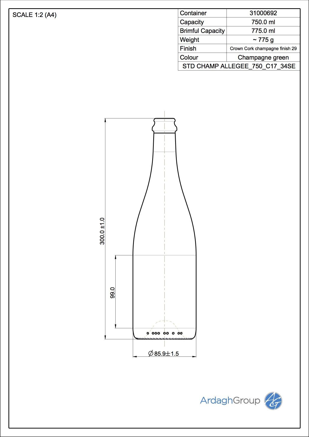 750ml green glass Champ Allegee oneway wine bottle
