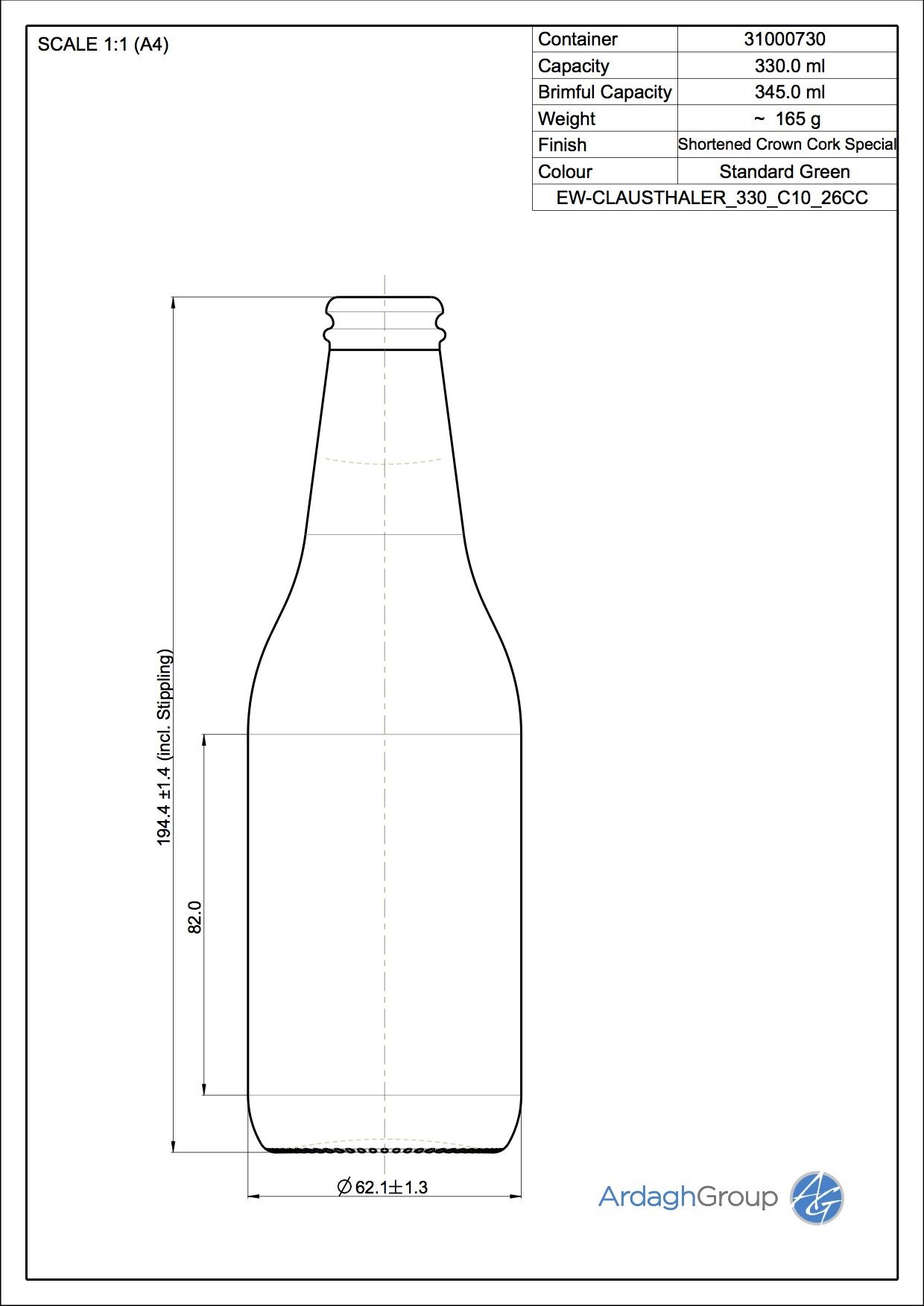 345ml green glass Clausthaler oneway beer bottle
