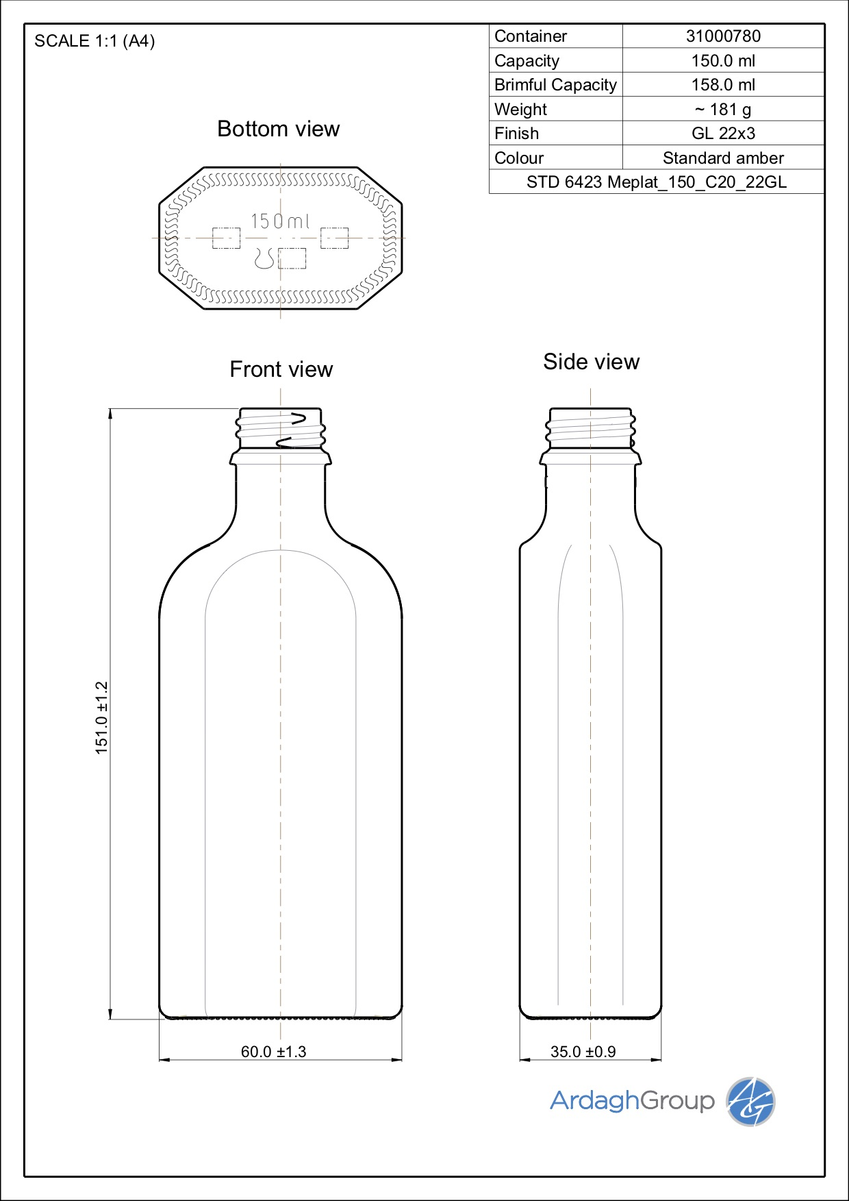 150ml amber glass meplat bottle