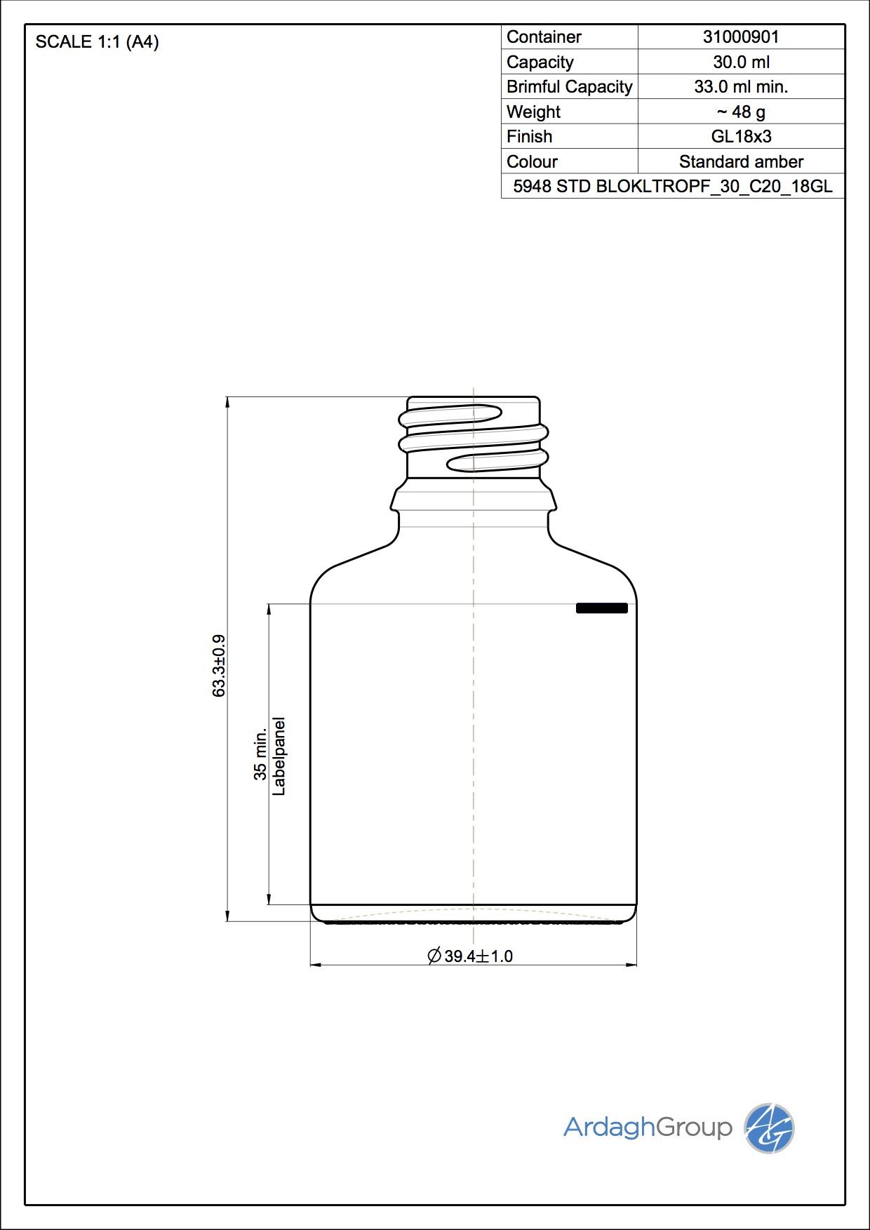 30ml amber glass dropper bottle