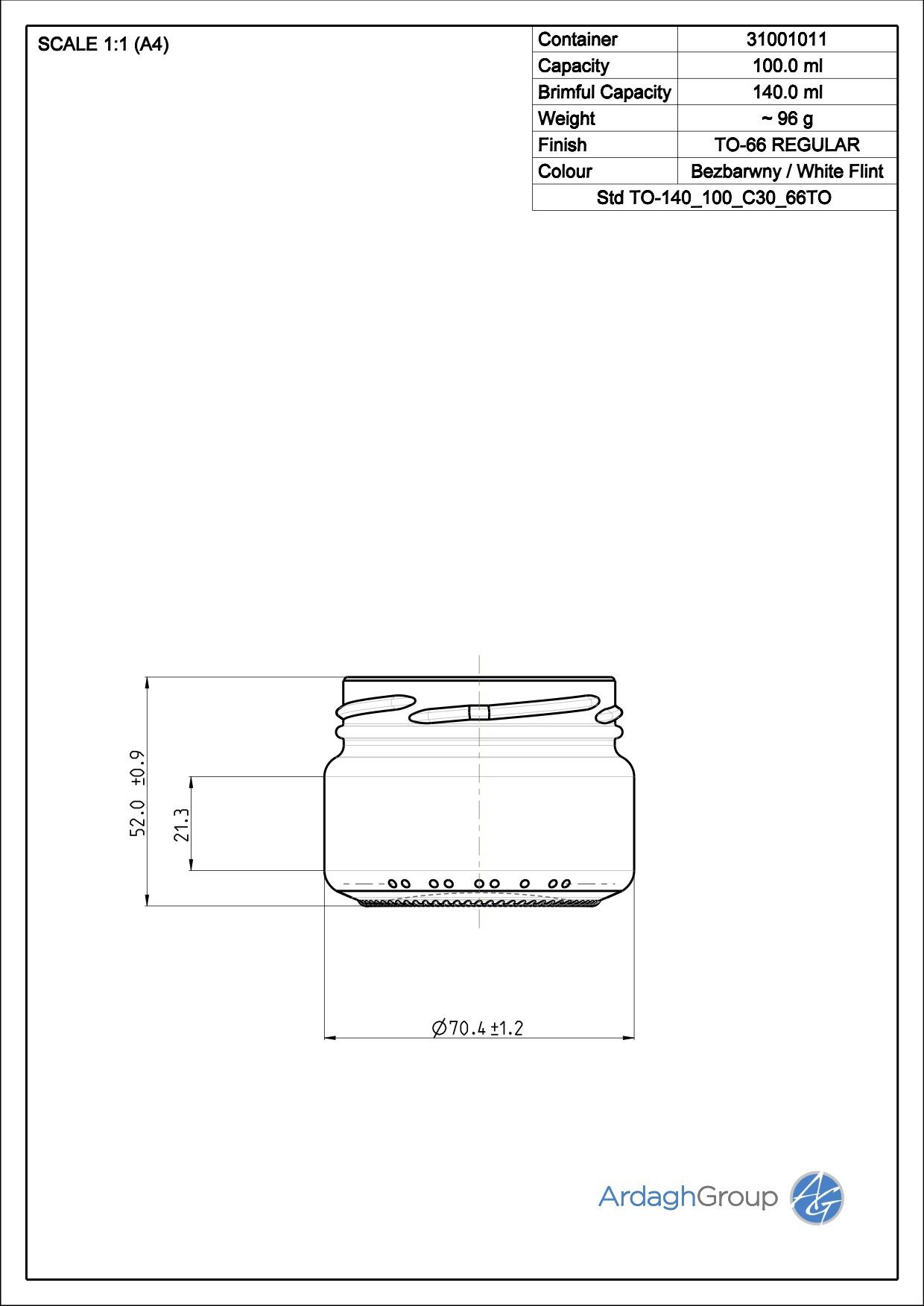 140ml flint glass food jar