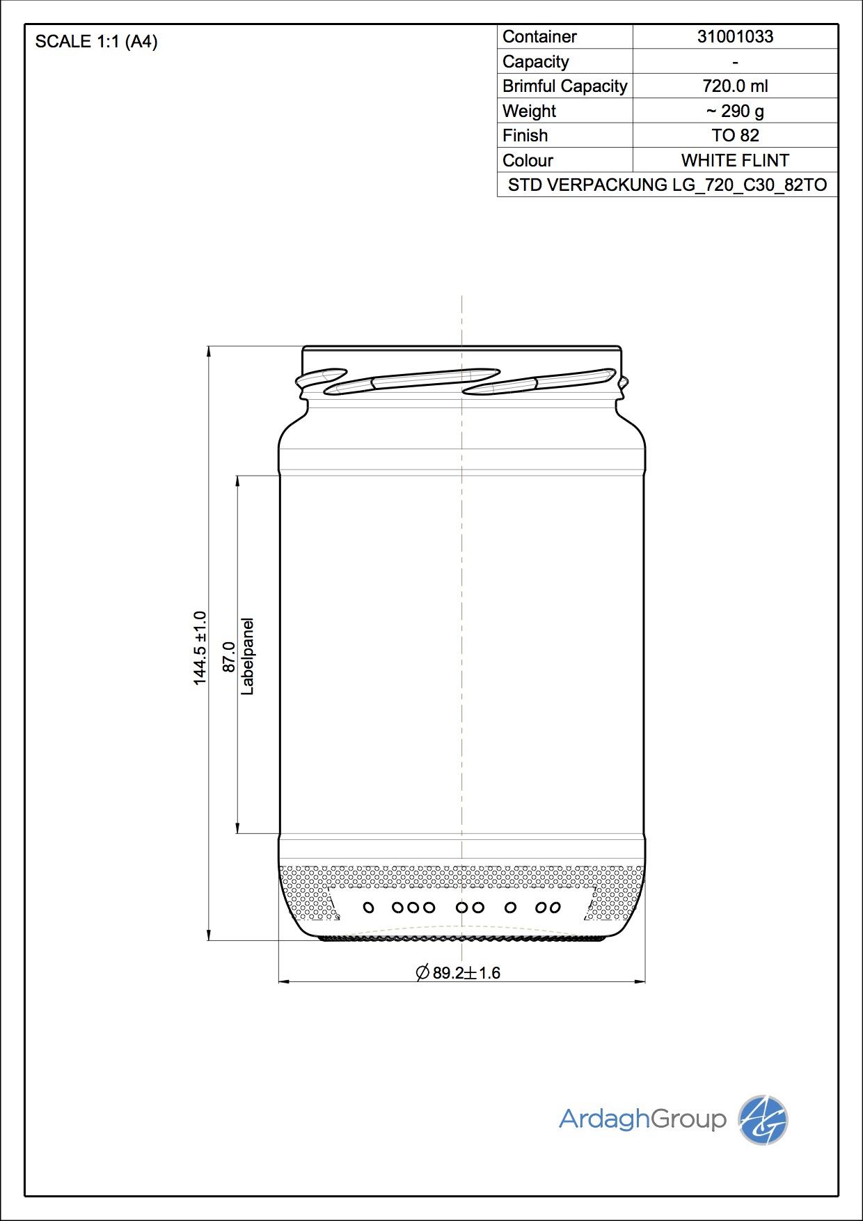 Verpackungsglas LG 720 C30 82TO