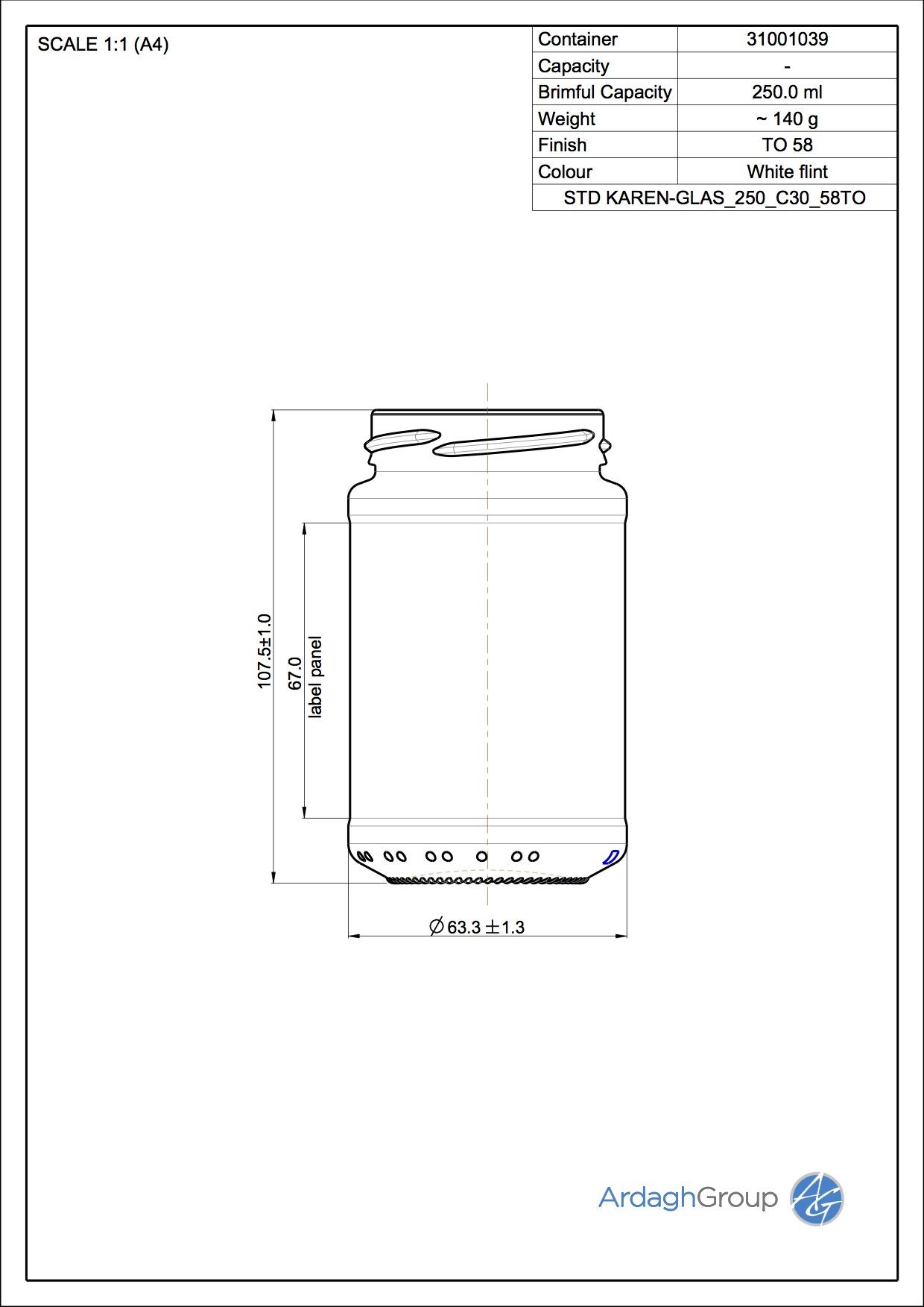 250ml flint glass Karen food jar