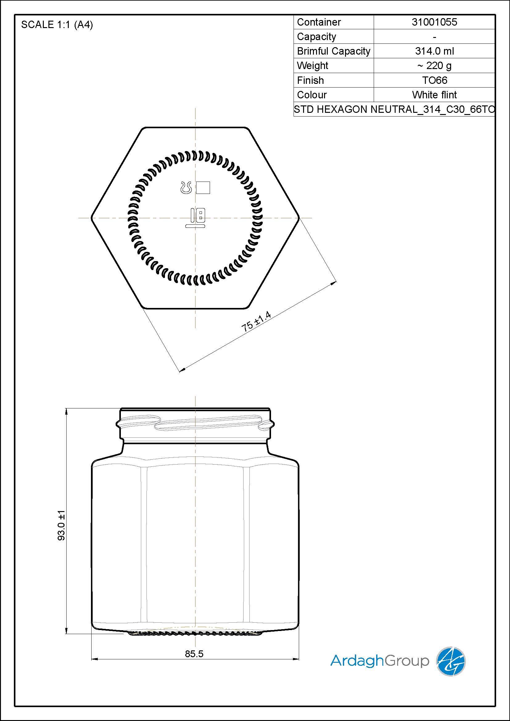 314ml flint glass Hexagon food jar