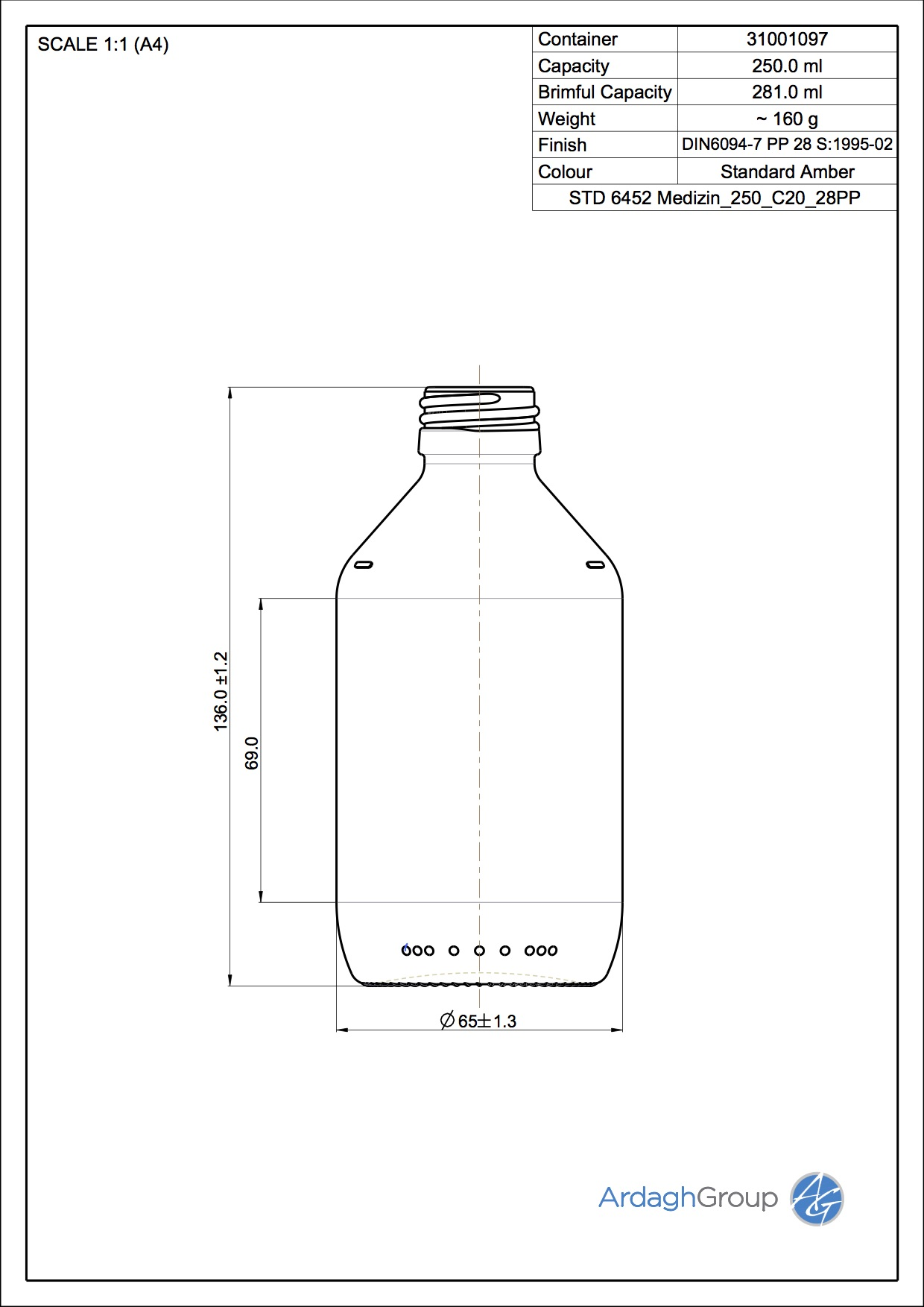 250ml amber glass syrup bottle
