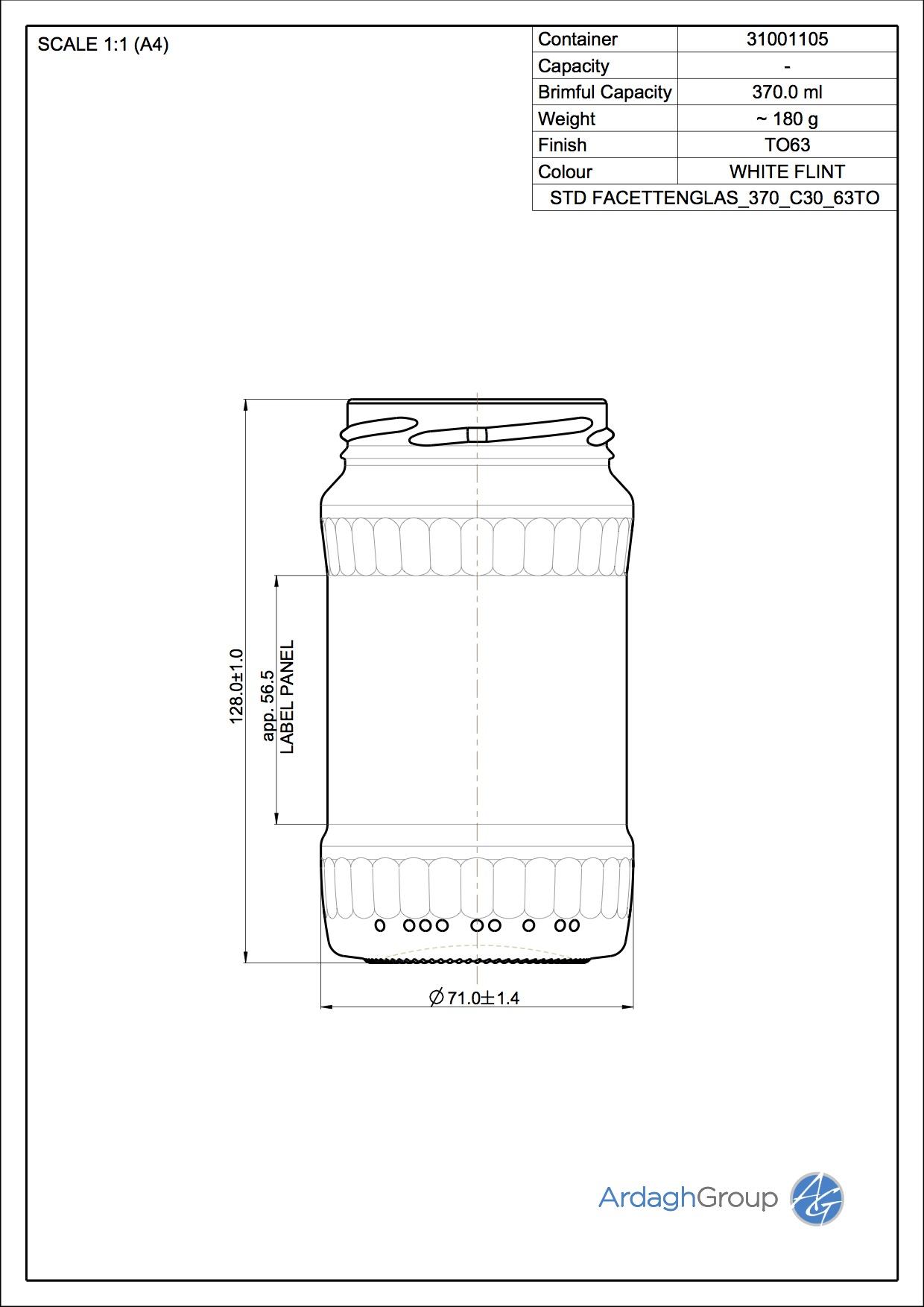 Facettenglas 370 C30 63TO