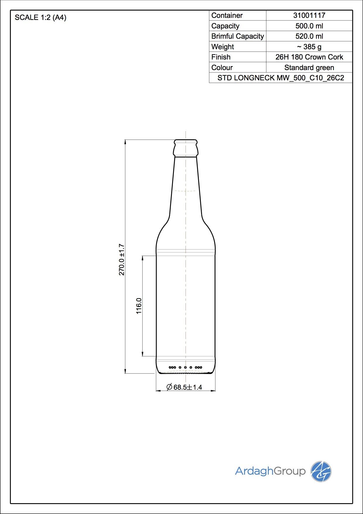 500ml Green Glass Hamb.Ale Returnable Beer Bottle 31001117