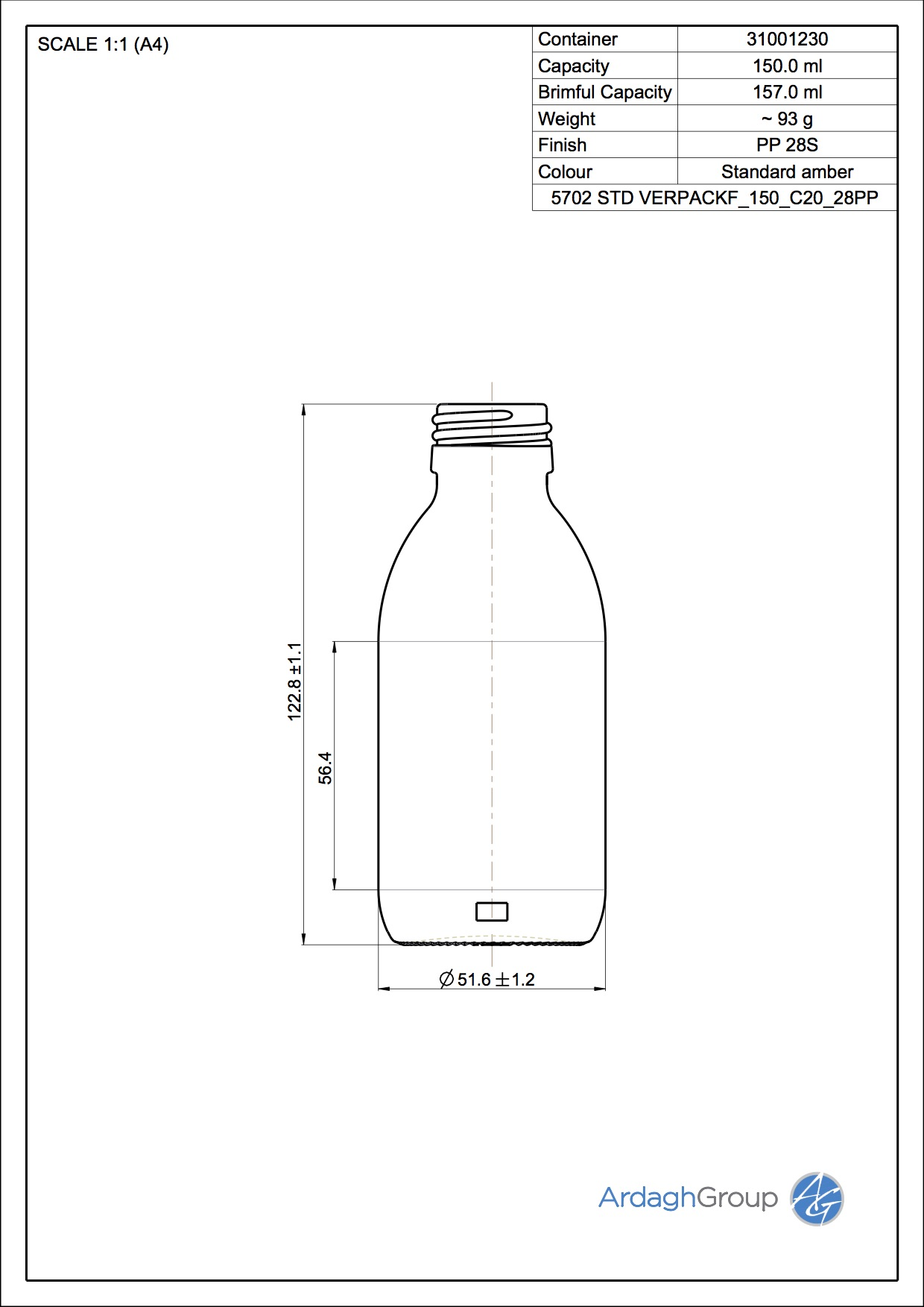 syrup bottle 150 ml
