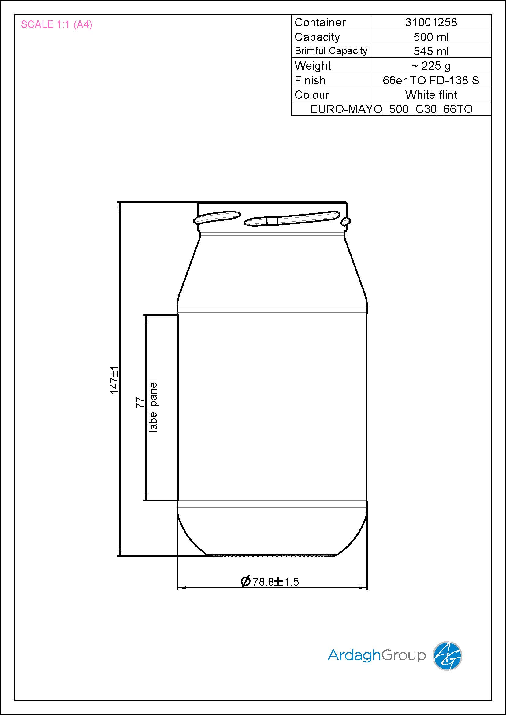 500ml Flint Glass Mayo Food Jar 31001258