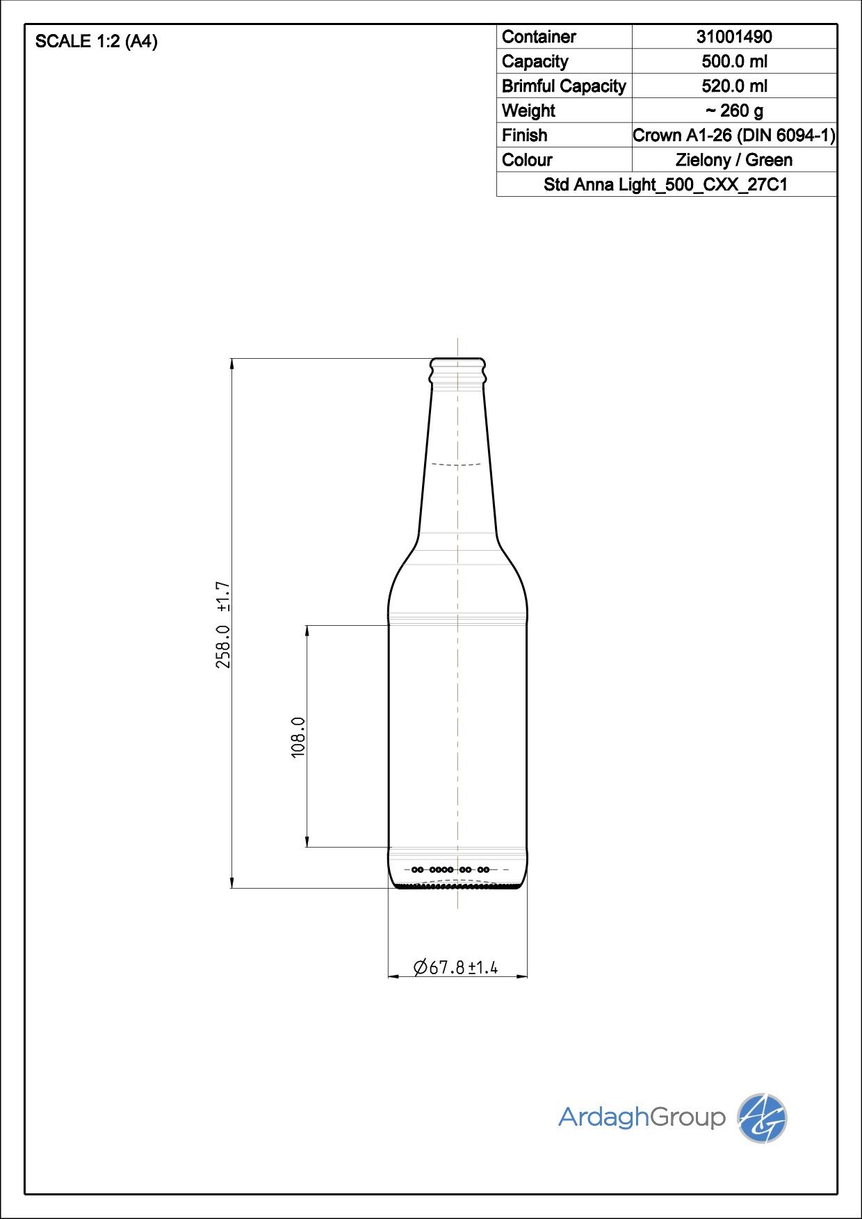 500ml Green Glass Anna Light Beer Bottle 31001490