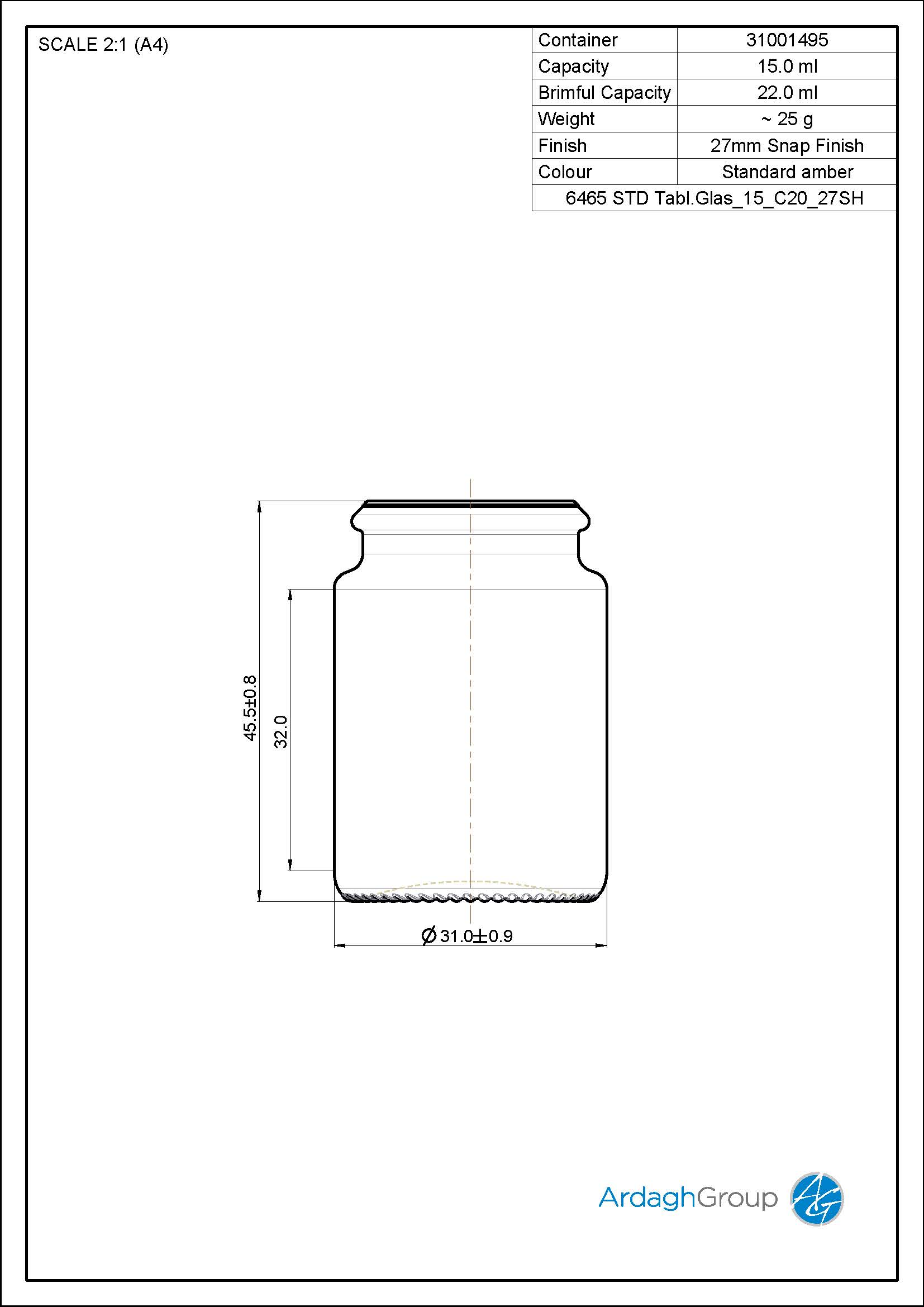 15ml amber glass tablet jar