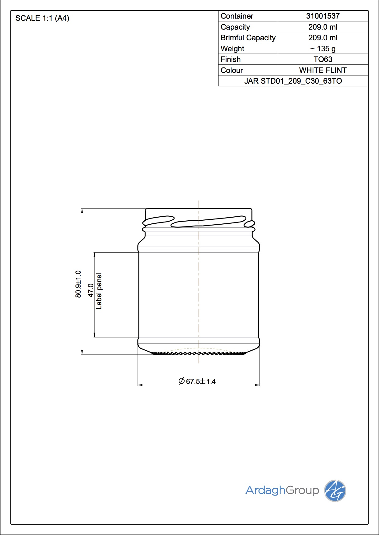 Jar STD01 209 C30 63TO