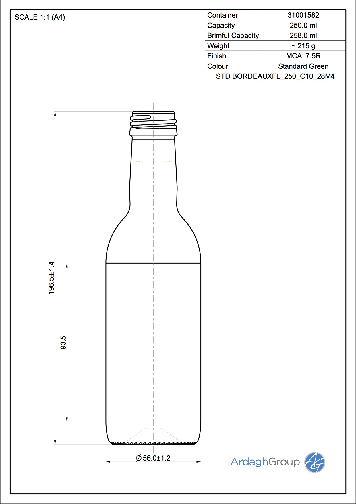 250ml Green Glass Bordeaux Wine Bottle 31001582