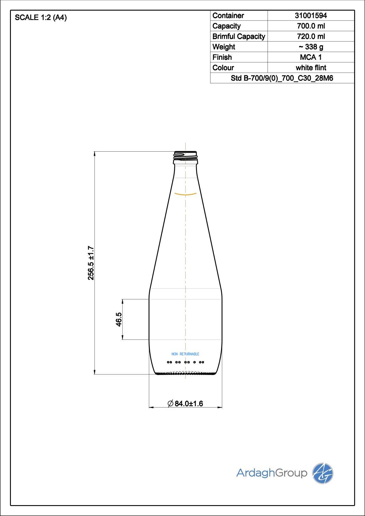 700ml flint glass oneway NAB bottle