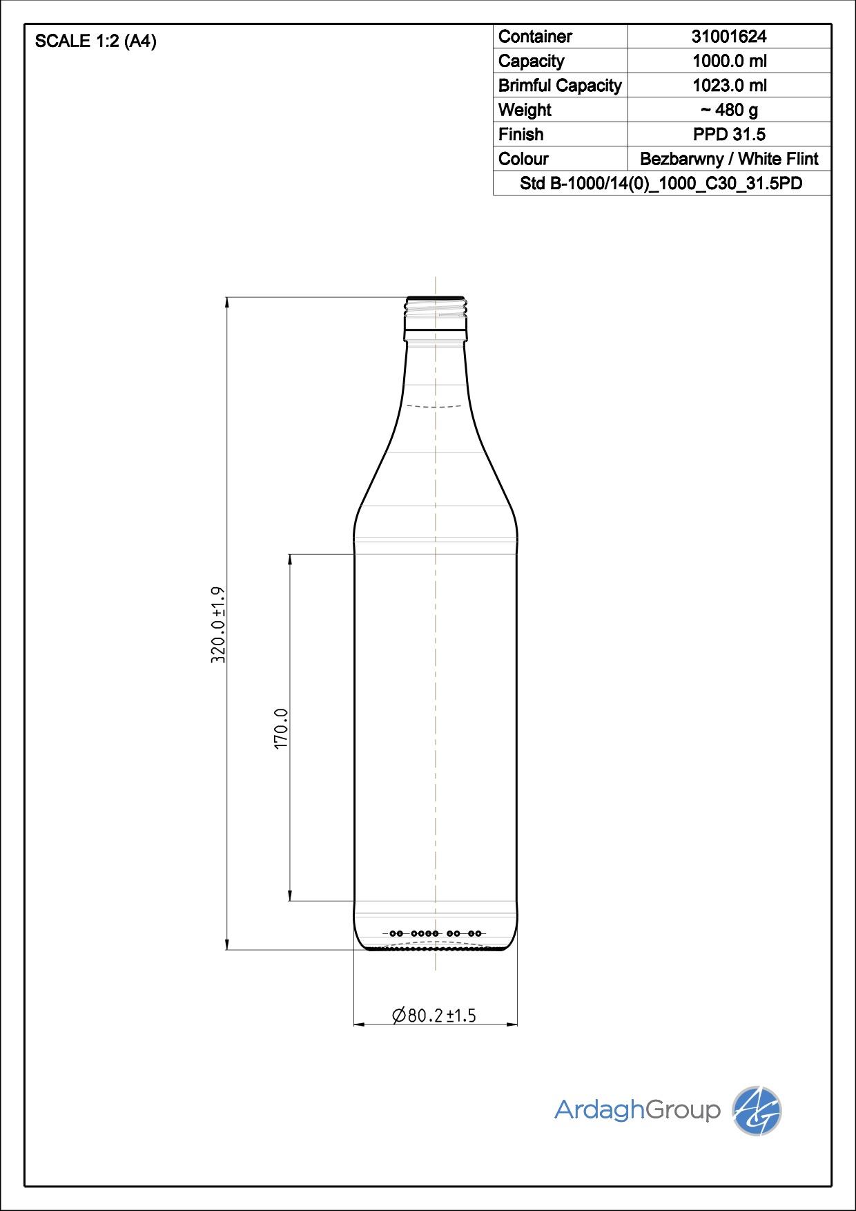 1000ml flint glass oneway wine bottle