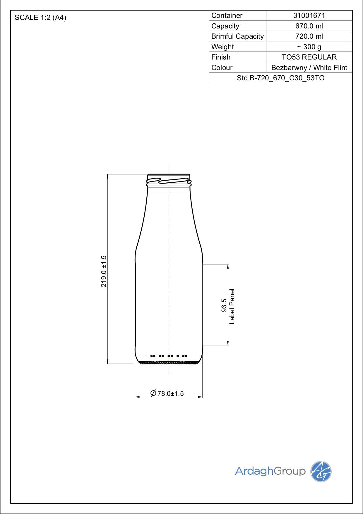 720ml Flint Glass Passata Food Bottle 31001671