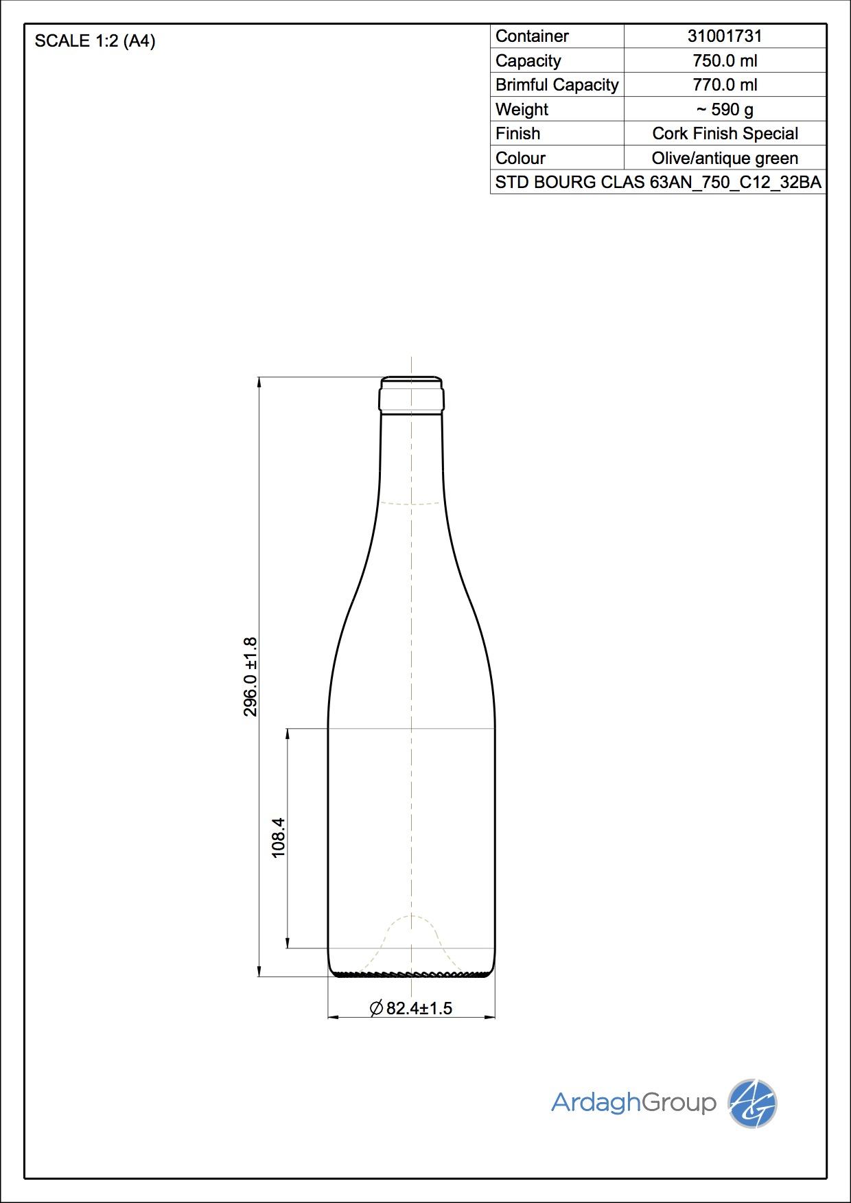 750ml green glass Bourg Clas oneway wine bottle