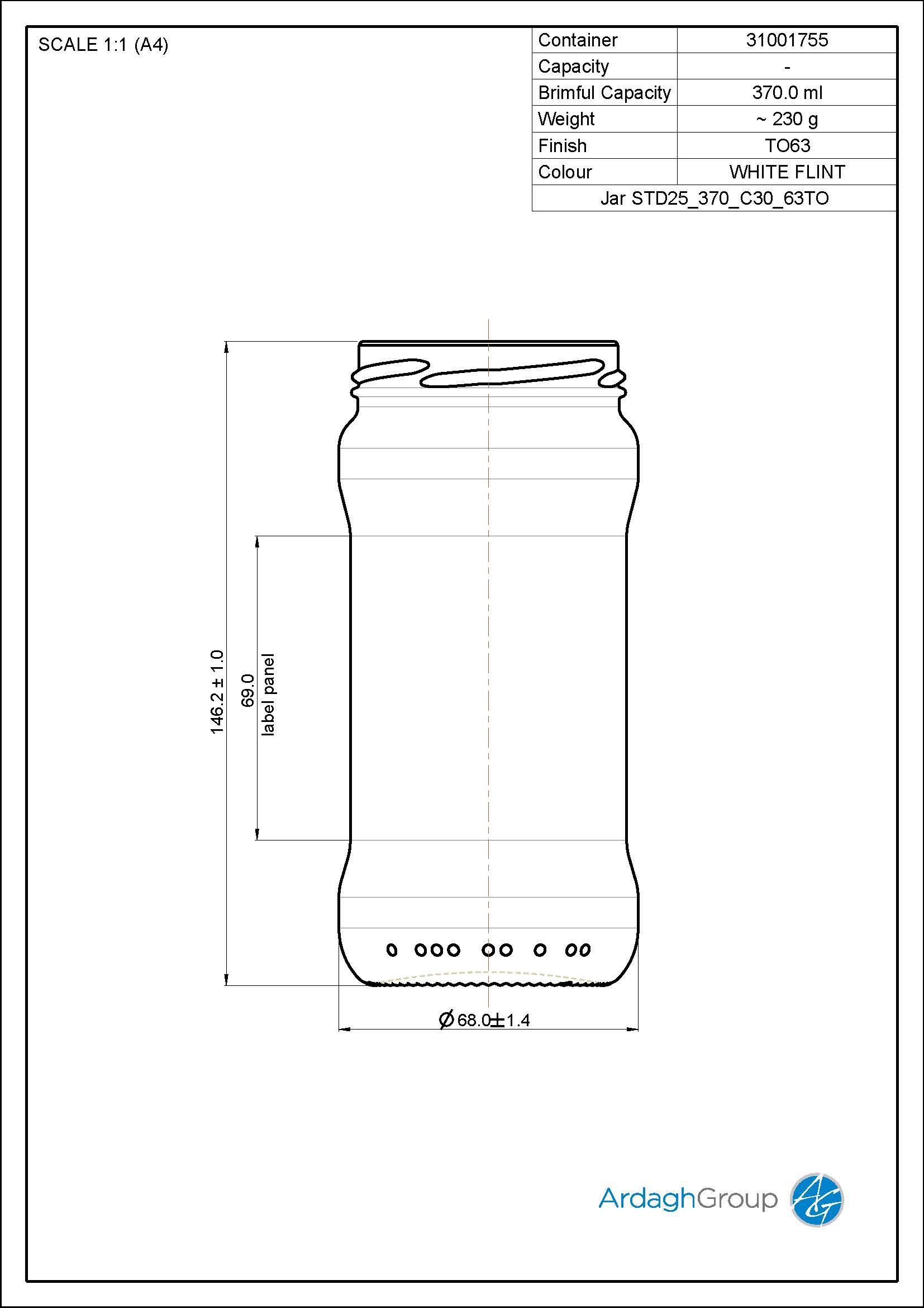 Jar STD25 370 C30 63TO