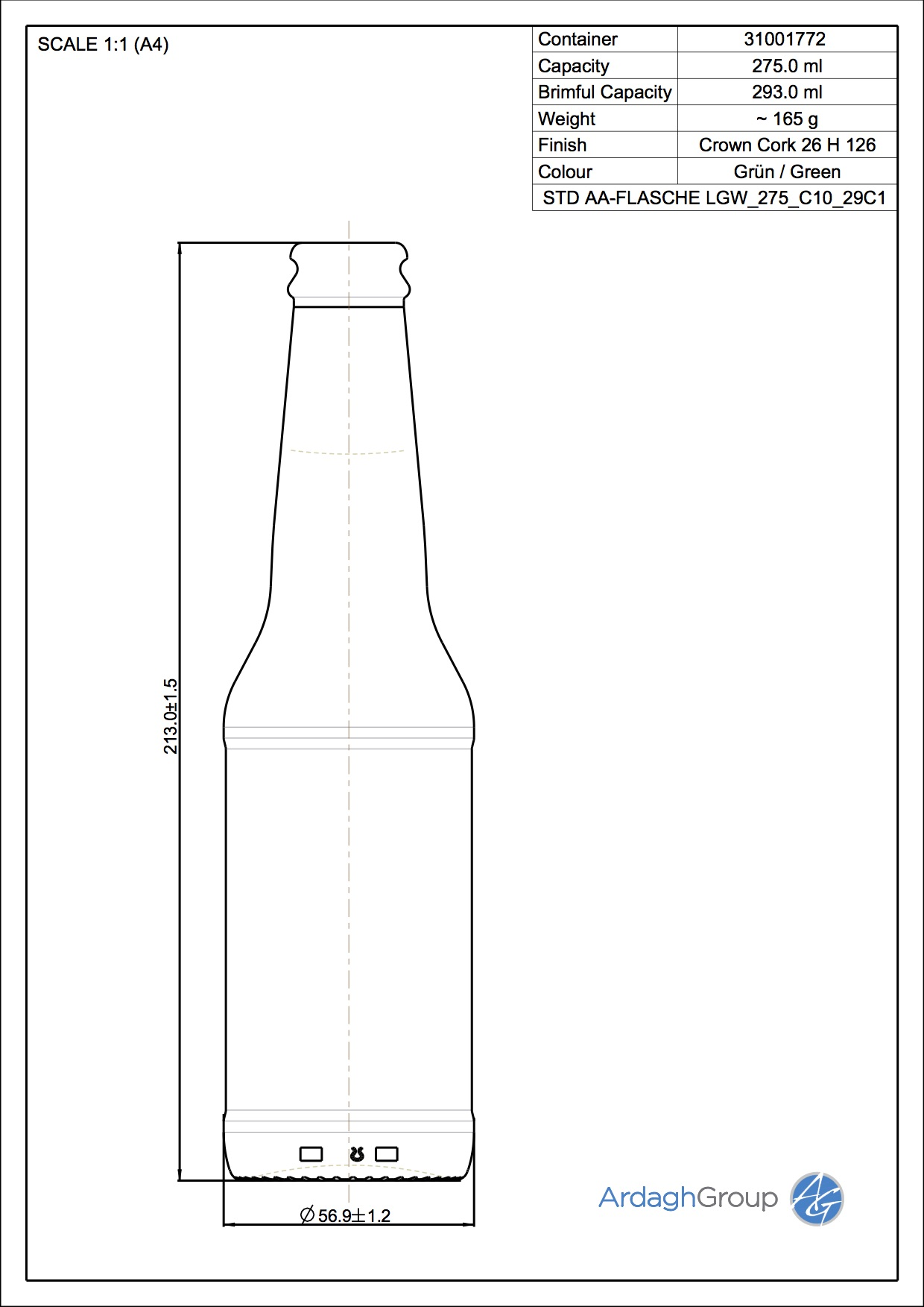 Std. AA Flasche LGW 275 C10 29C1