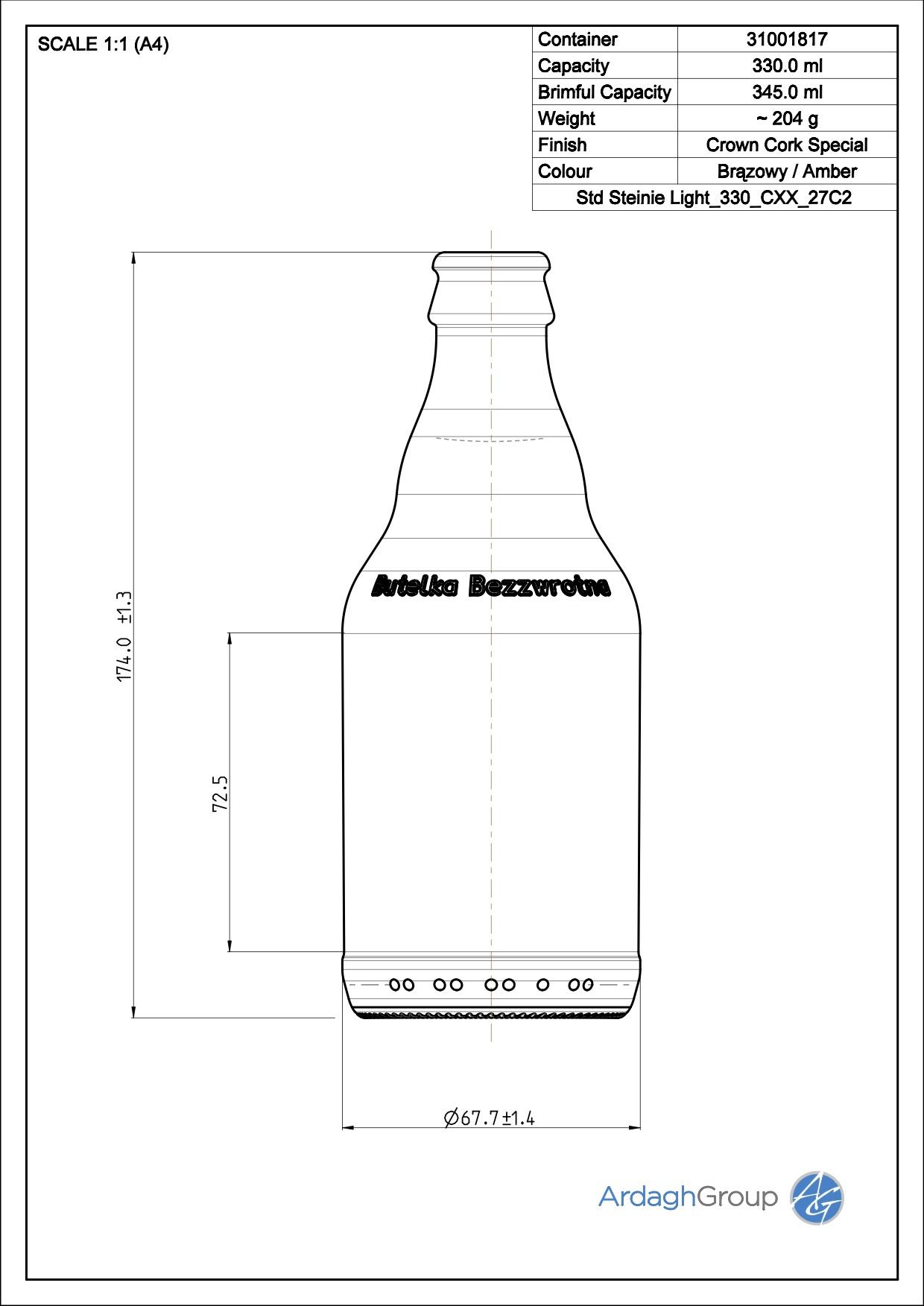 330ml amber glass Steinie oneway beer bottle