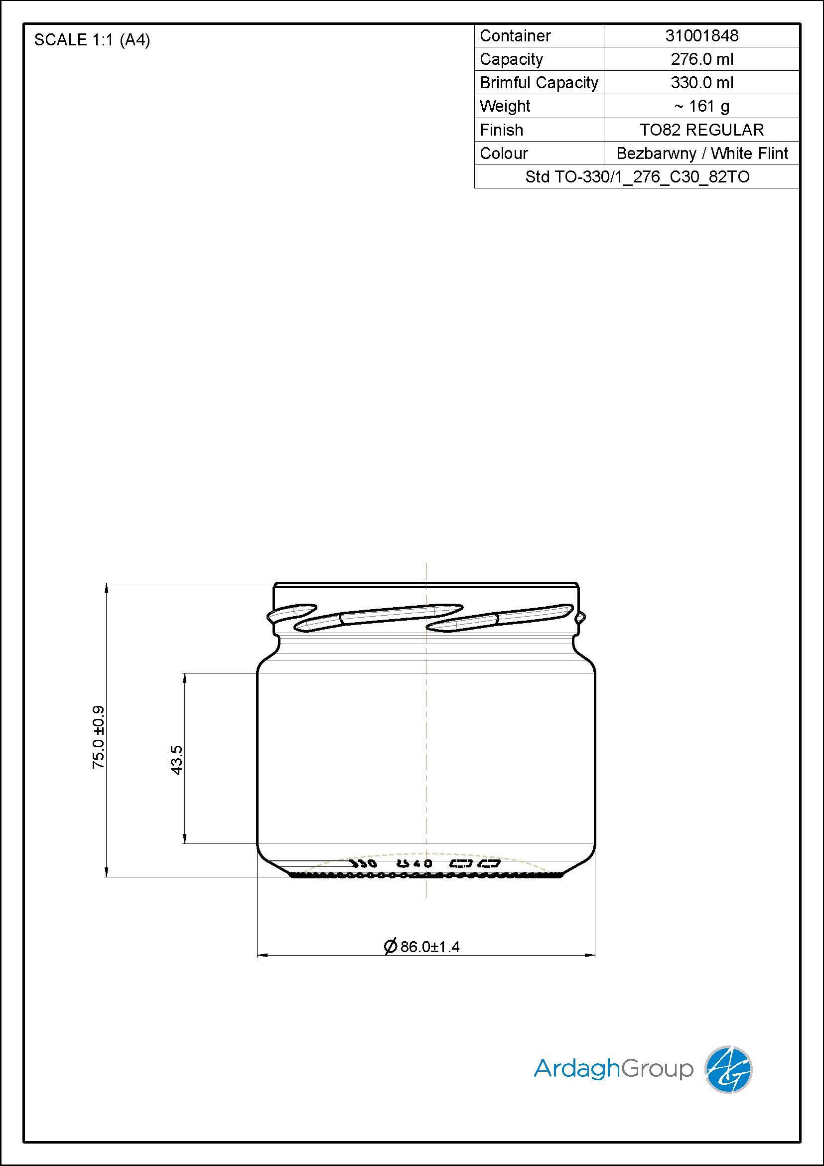 330ml flint glass food jar