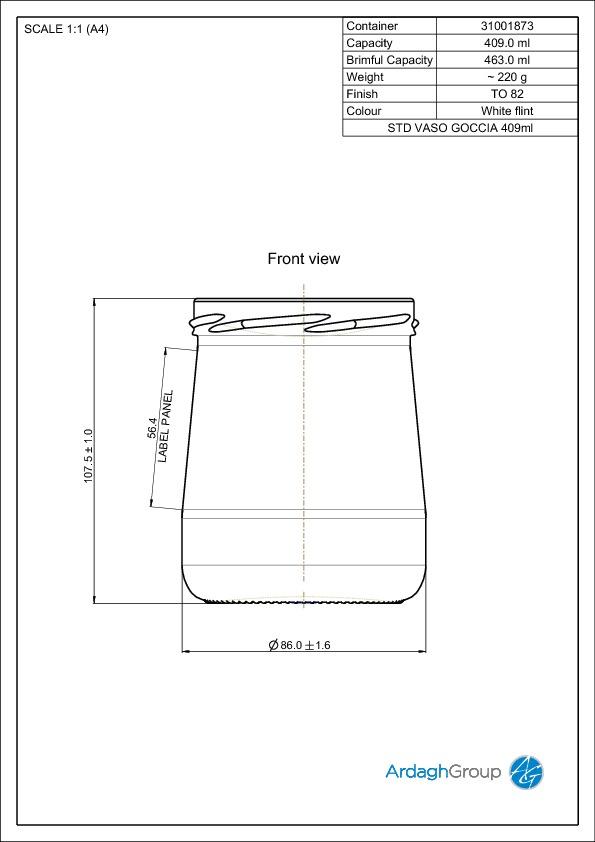 409ml flint glass Vaso Goccia food jar
