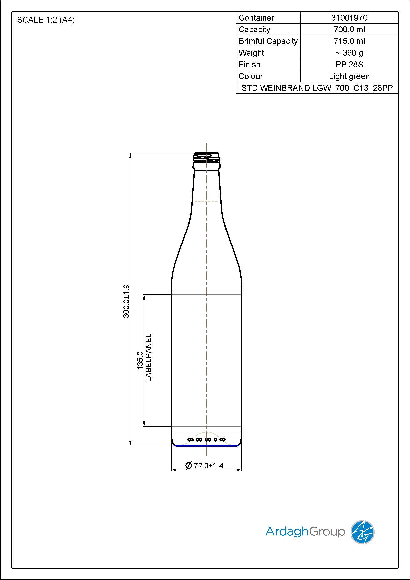 700ml green glass spirits bottle