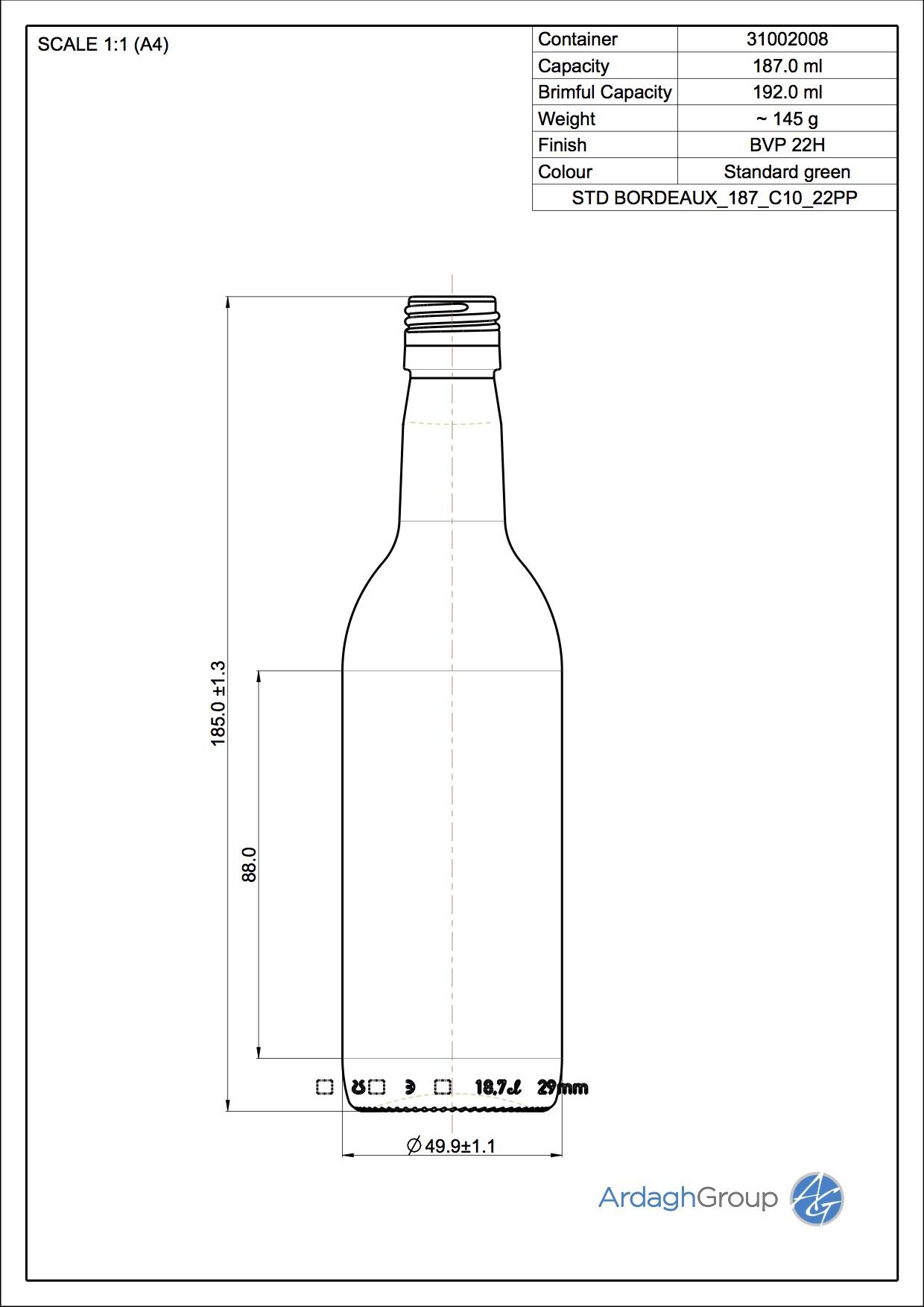187ml green glass Bordeaux oneway wine bottle