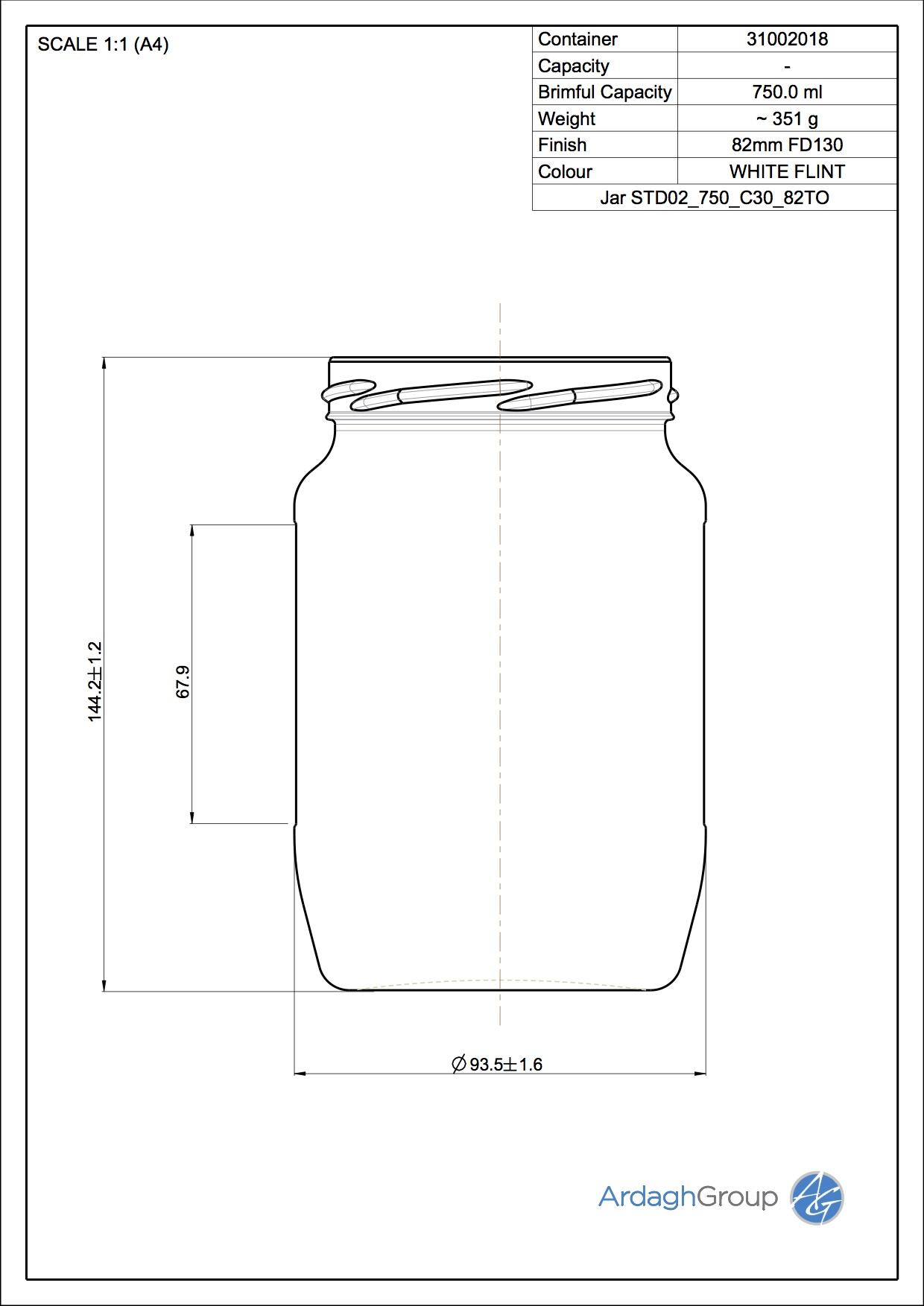 750ml flint glass food jar