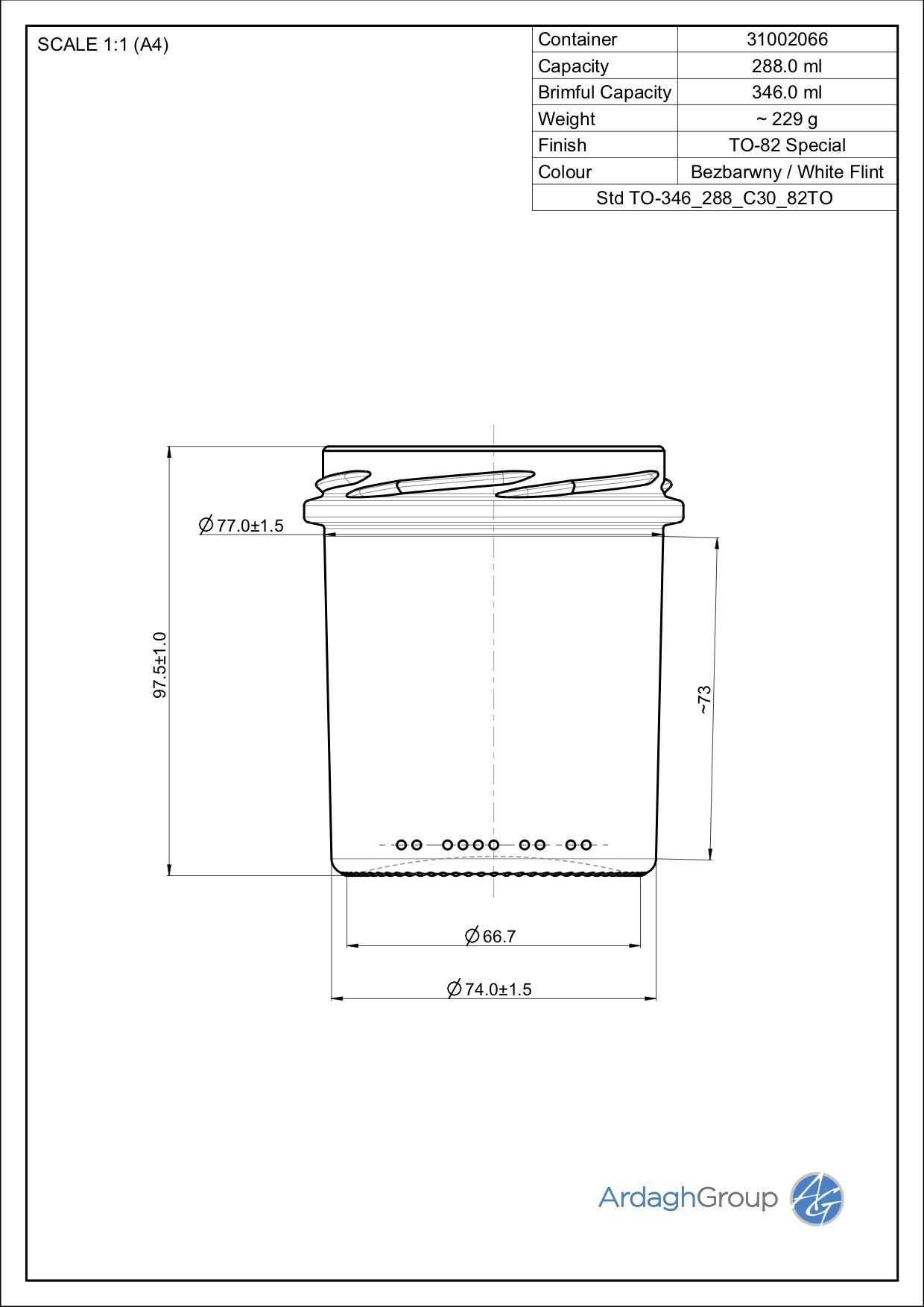 346ml Flint Glass Food Jar 31002066