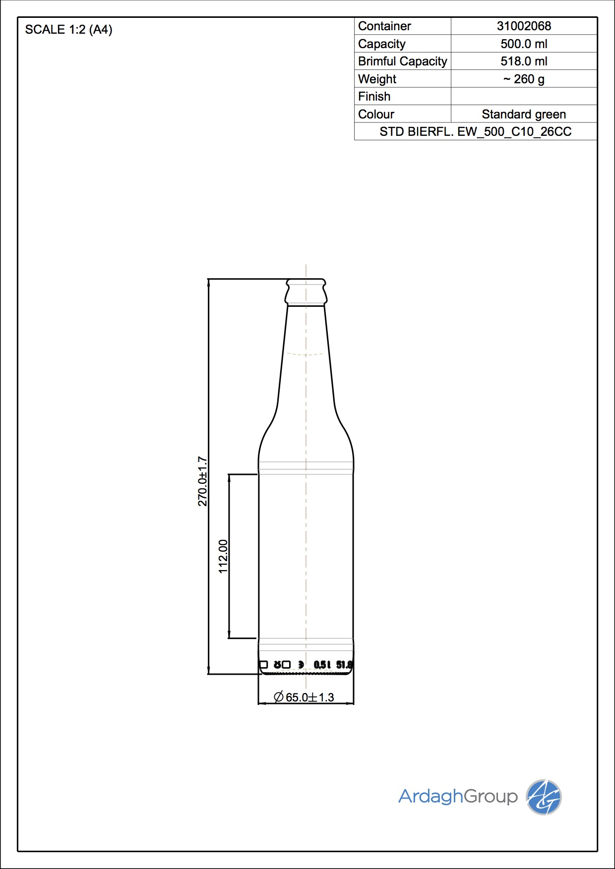 500ml Green Glass Beer Oneway Bottle 31002068
