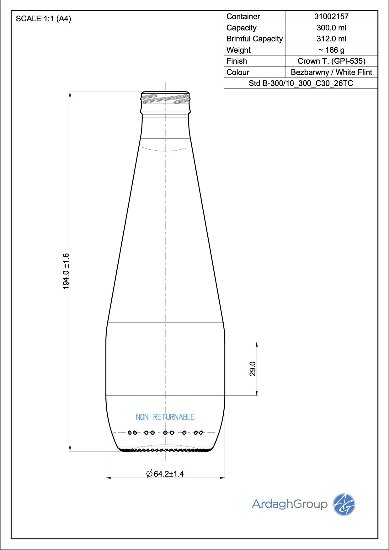 300ml Flint Glass NAB Bottle 31002157