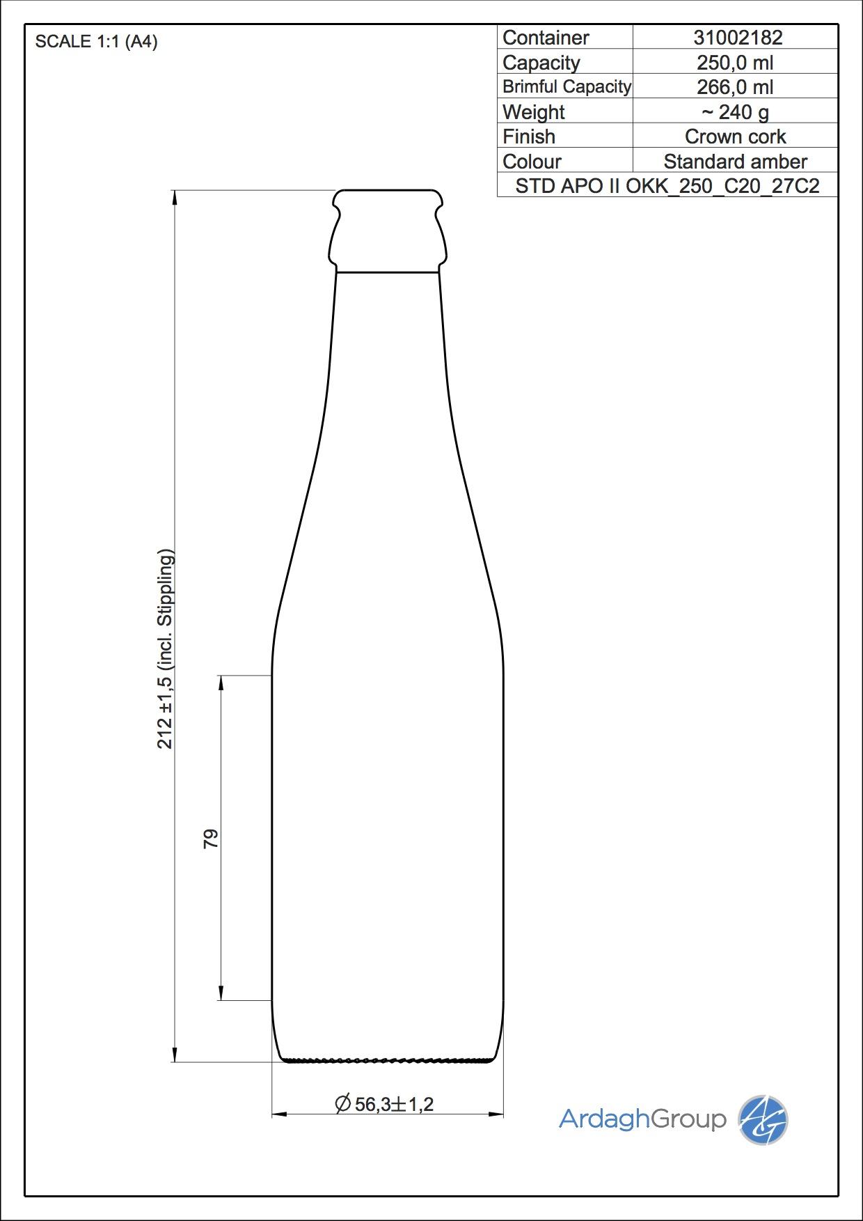 250ml Amber Glass Apo II Returnable Beer Bottle 31002182