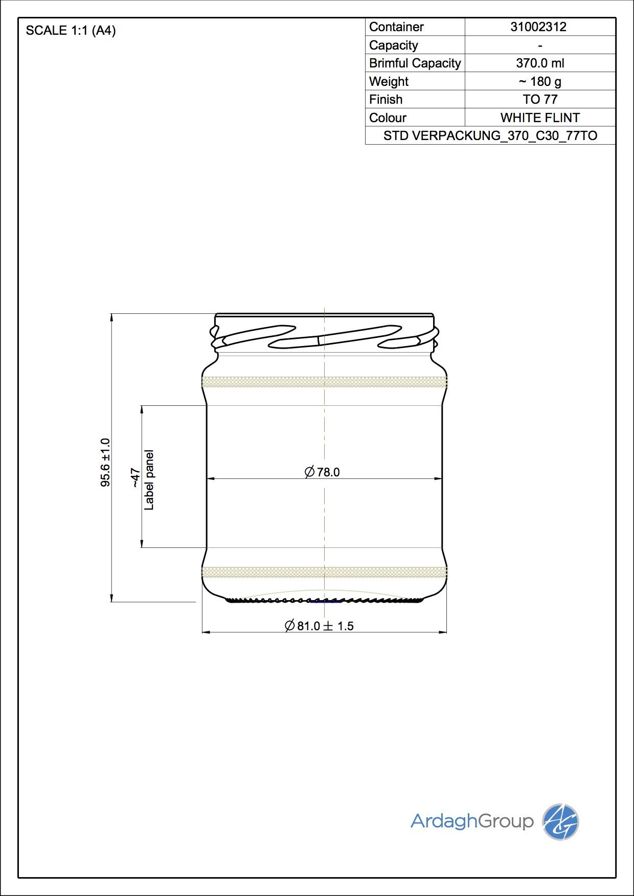 370ml flint glass food jar