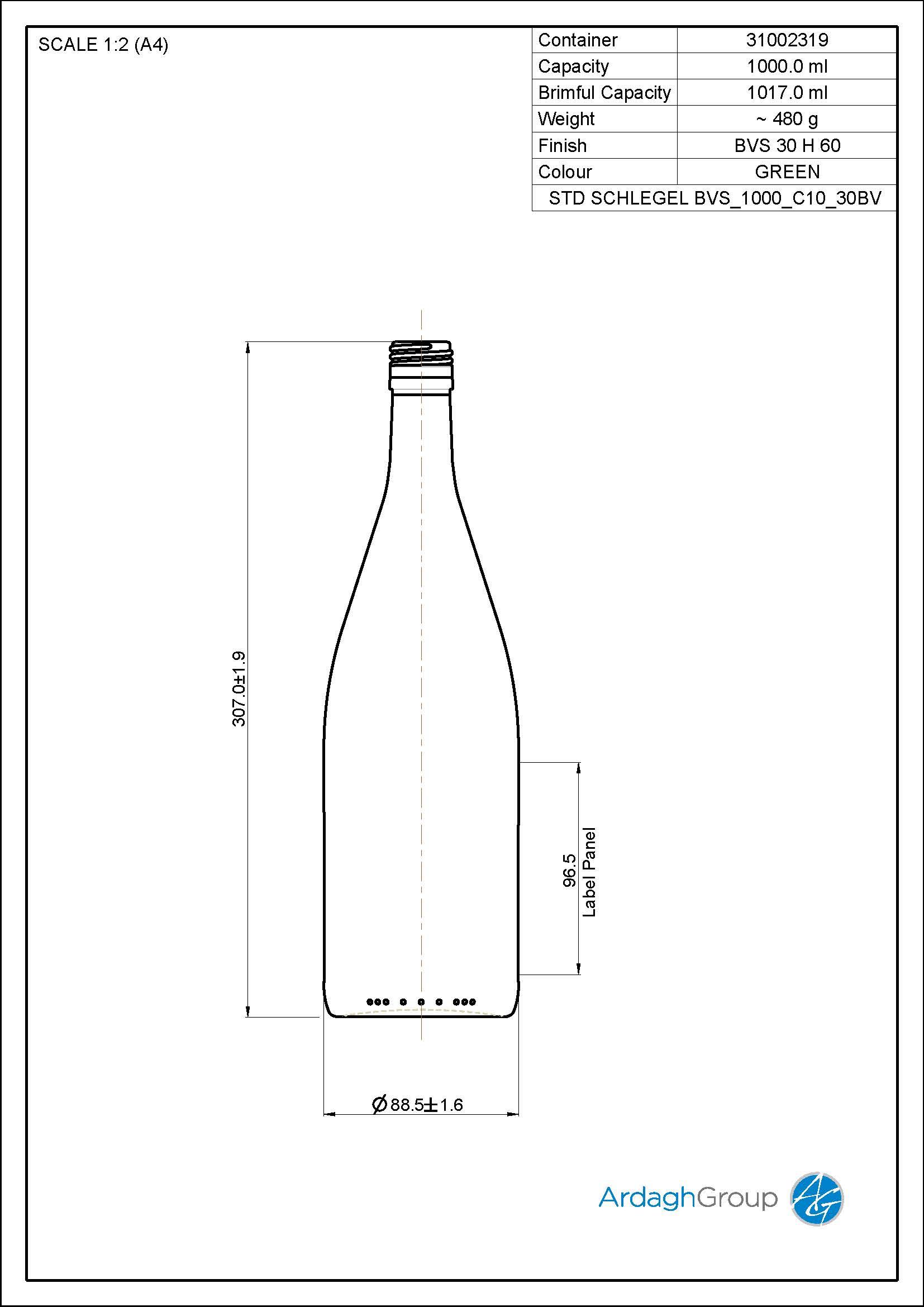 1000ml Green Glass Schlegel Wine Bottle 31002319