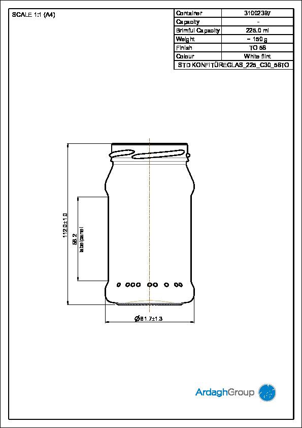 Konfitürenglas 225 ml