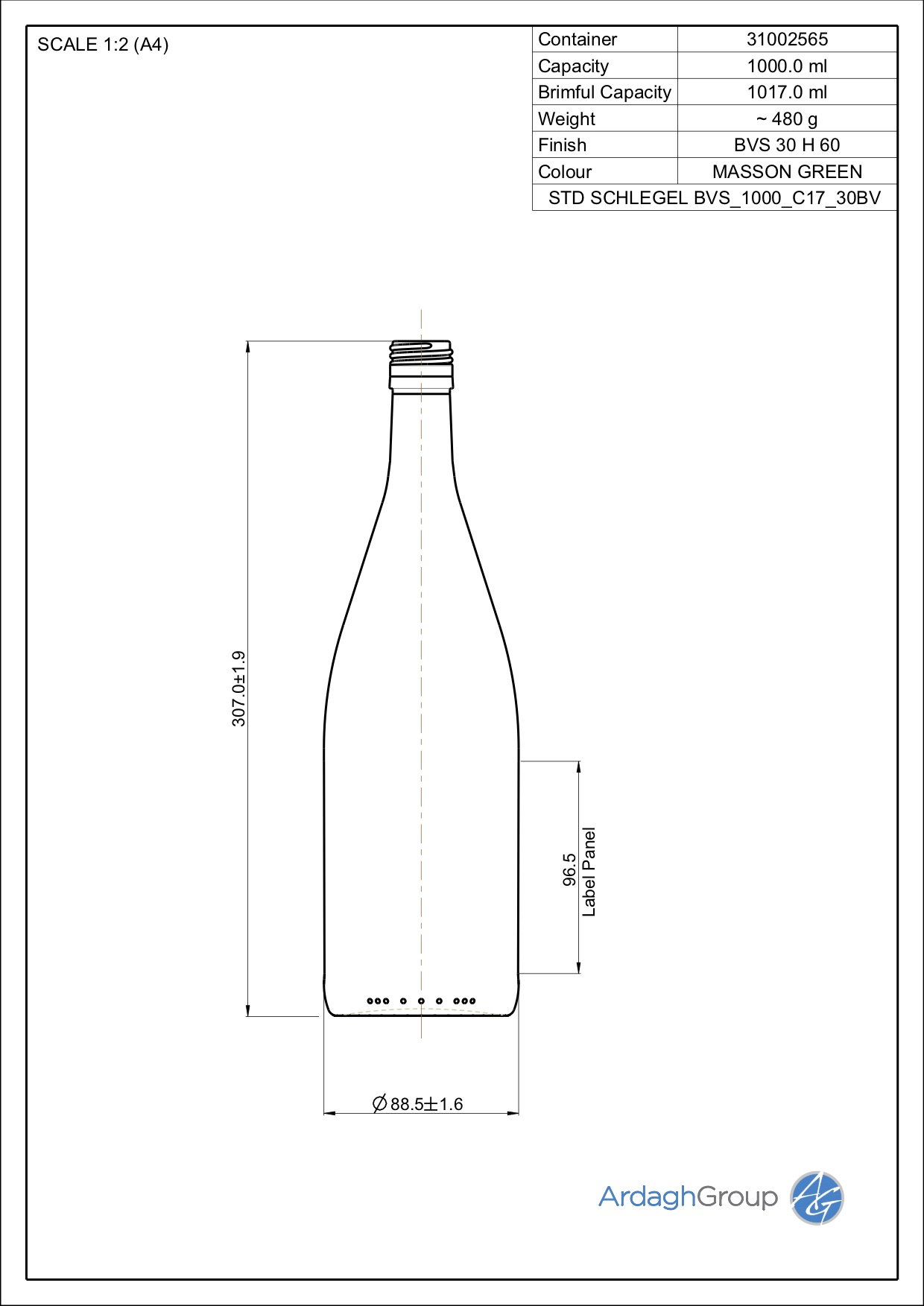 1000ml green glass Schlegel oneway wine bottle