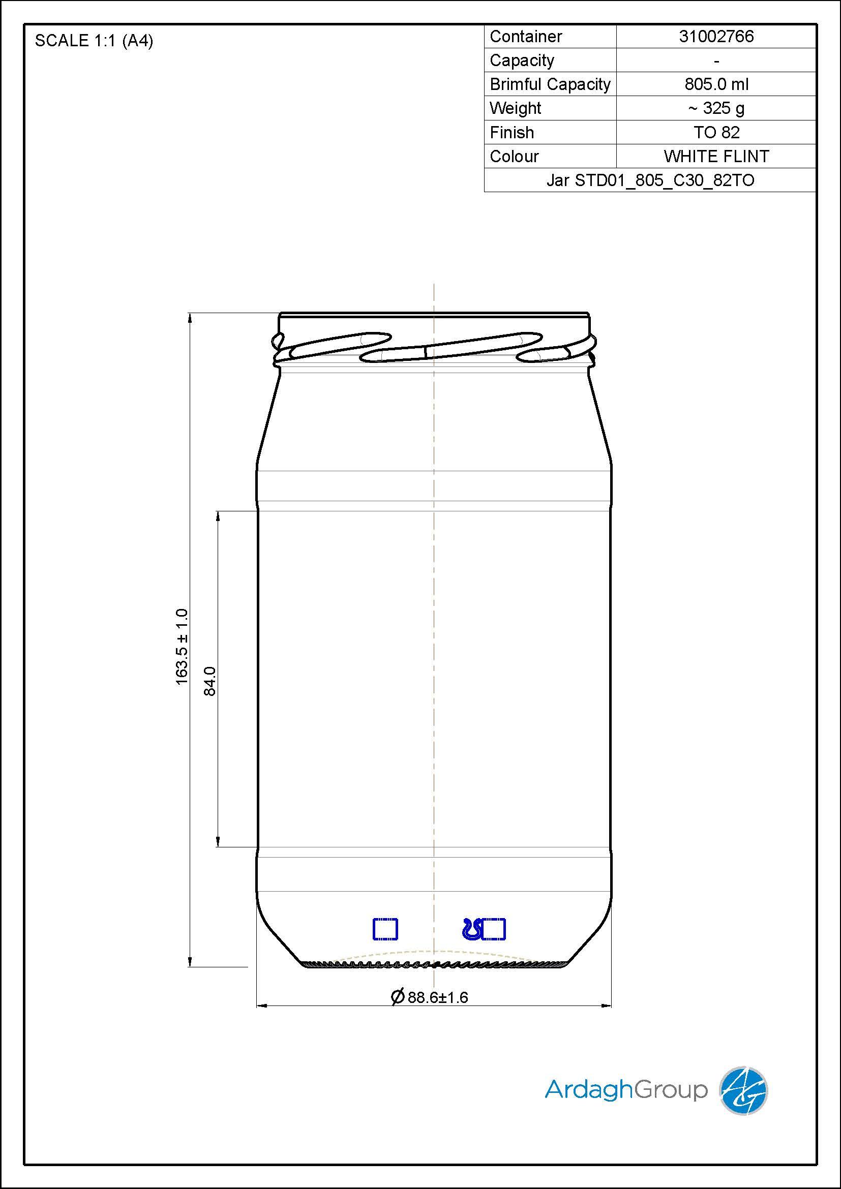 805ml Flint Glass Food Jar 31002766
