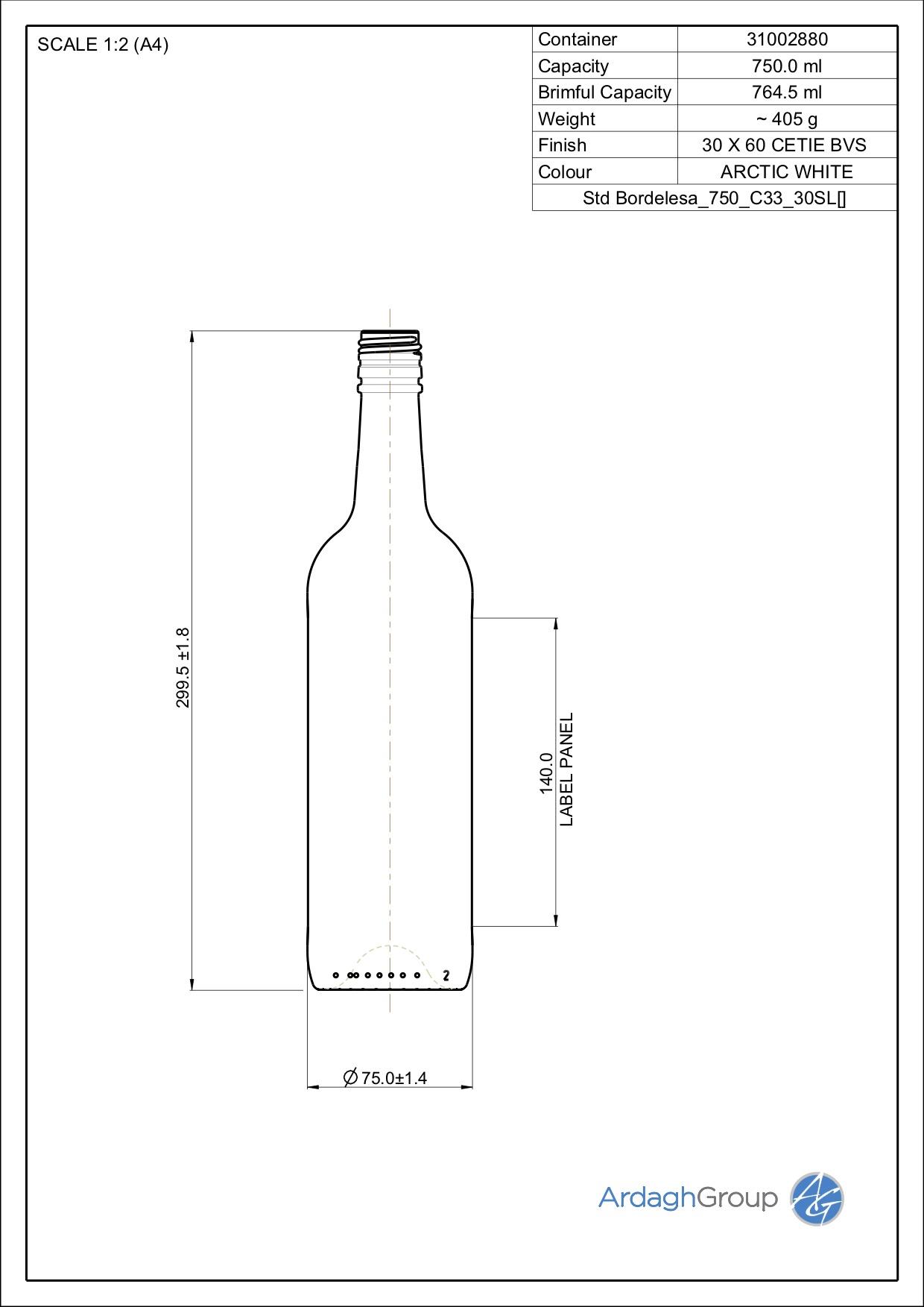 750ml flint glass Bordelesa oneway wine bottle