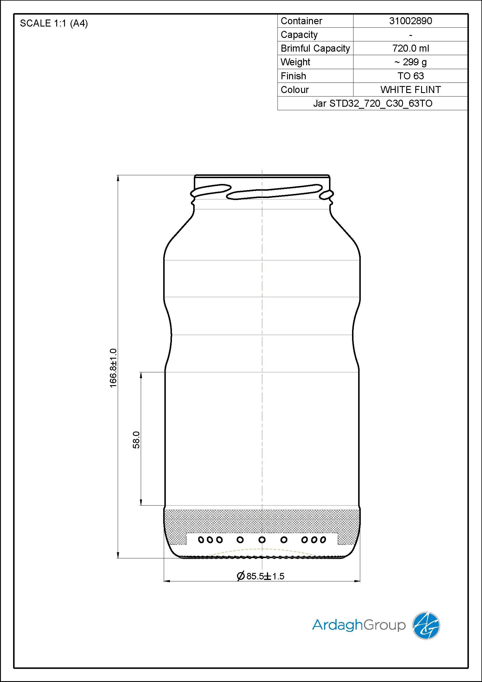 Jar STD32 720 C30 63TO
