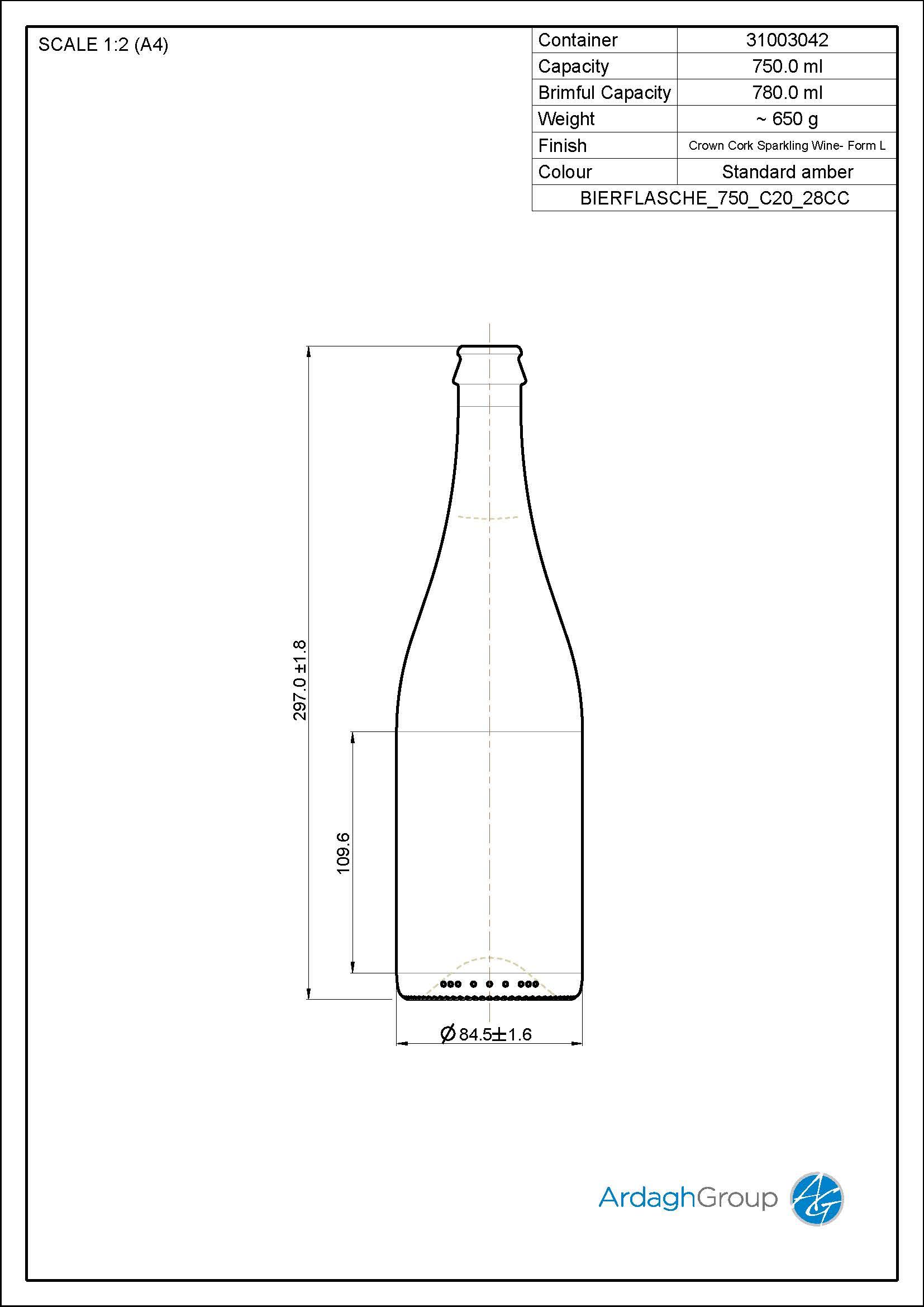 750ml amber glass returnable beer bottle