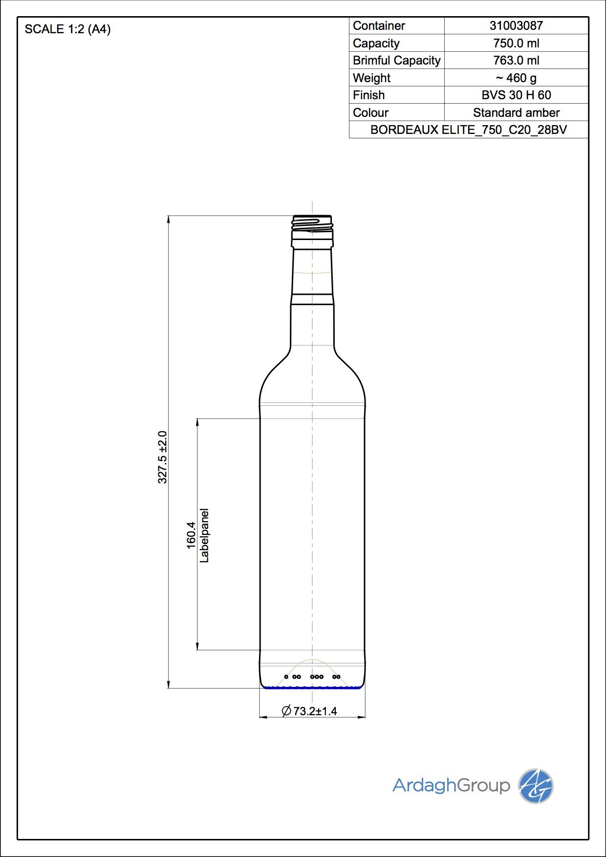 750ml amber glass Bordeaux Elite oneway wine bottle