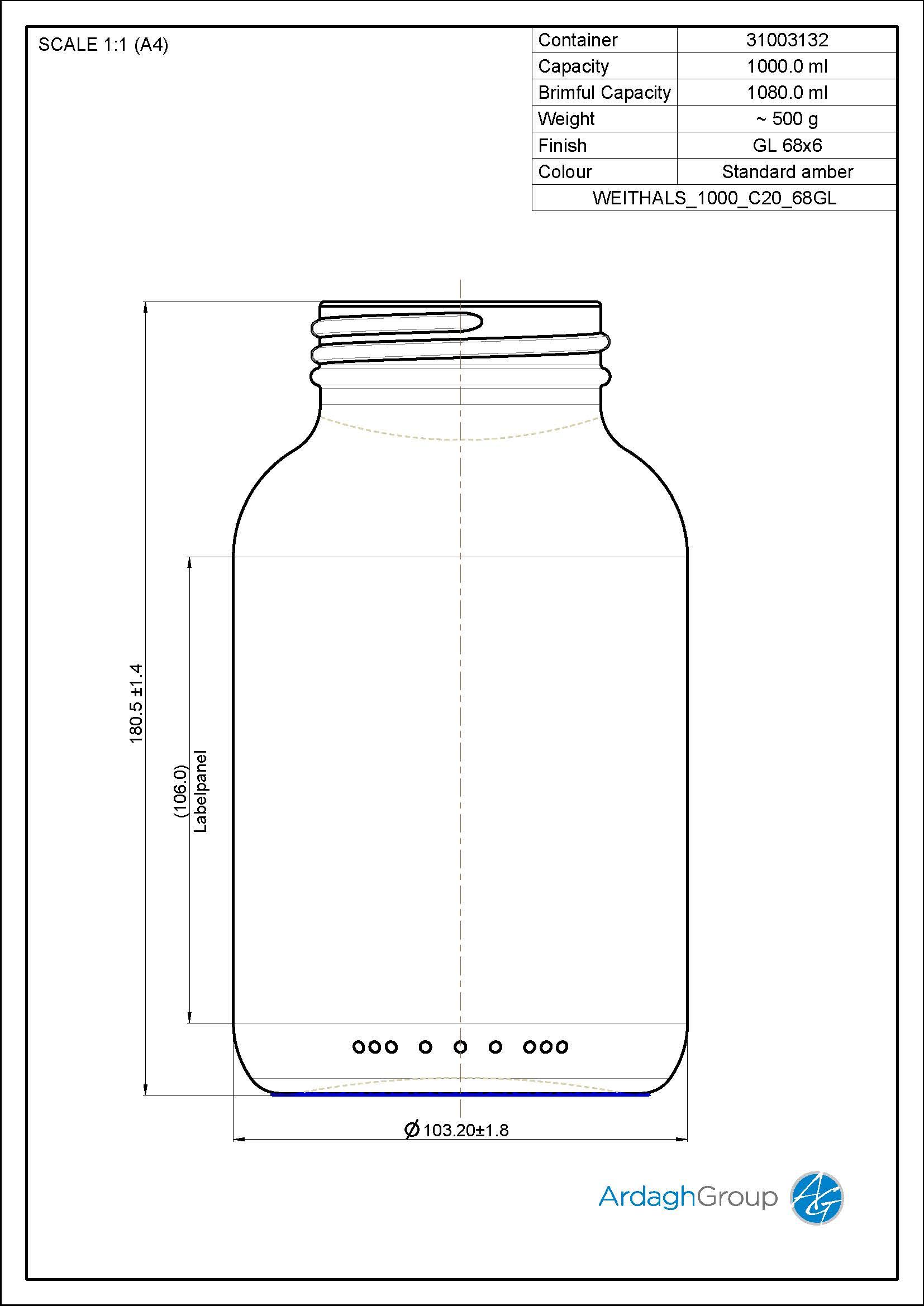 widemouth jar 1000 ml
